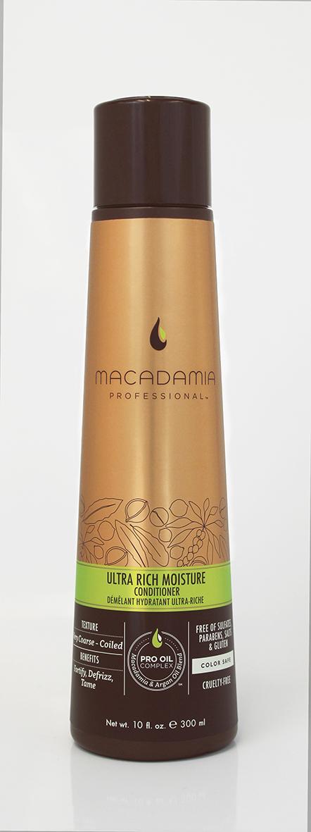 Macadamia Professional Кондиционер увлажняющий для жестких волос, 300 мл150507Сочетание эксклюзивного комплекса Pro Oil Complex, масел авокадо и монгонго в увлажняющем кондиционере Macadamia Professional обеспечивает интенсивное восстановление и увлажнение волос, устраняет эффект пушистости и подчеркивает естественную форму локонов и текстуру волос. Сочетание аминокислот шелка, витаминов A, C и E укрепляет волосы и придает эластичность. Обеспечивает защиту от действия УФ-лучей и неблагоприятных факторов окружающей среды.