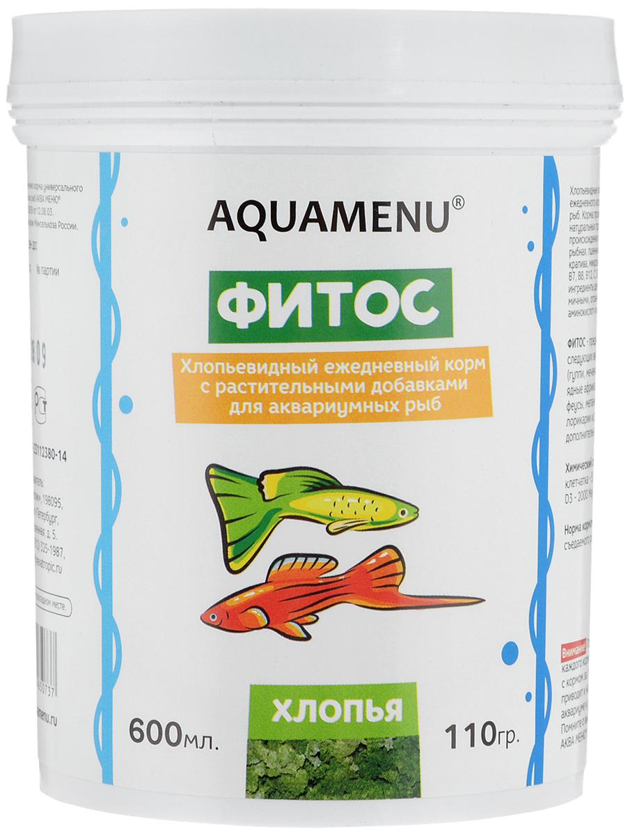 Корм Aquamenu Фитос для аквариумных рыб, с растительными добавками, 110 г0120710Хлопьевидный корм Aquamenu Фитос предназначен для ежедневного кормления большинства видов аквариумных рыб. Корм производится по современной технологии из натуральных продуктов животного и растительного происхождения методом инфракрасной сушки. Связующие ингредиенты делают корм более экзотичным, ограничивая вымывание питательных веществ, аминокислот и витаминов во время пребывания в воде. Aquamenu Фитос предназначен для ежедневного кормления следующих видов рыб: живородящие карпозубые (гуппи, меченосцы, пециллии и др.), растительноядные африканские цихлиды (трофеусы, псевдотрофеусы, меланохромисы и др.) и сомы (анциструсы, лорикарии и др.). Корм рекомендуется в качестве дополнительного корма и для других видов рыб.Состав: рыбная, пшеничная, соевая, травяная и водорослевая мука, крапива, микроэлементы, витамины A, B1, B2, B3, B4, B5, B6, B7, B8, B12, C, D3, E, K, H и специальные добавки.Товар сертифицирован.