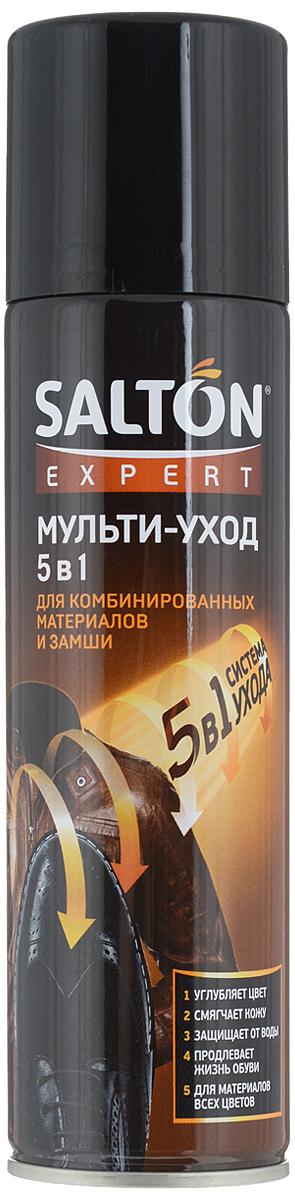 Средство Salton Expert. Мульти-уход 5 в 1, 250 млMW-3101Средство Salton Expert. Мульти-уход 5 в 1 предназначено для обновления внешнего вида обуви и продления срока ее службы: насыщает цвет и эффективно смягчает кожу, не повреждая текстиль и лаковые поверхности, и обеспечивает защиту от влаги и грязи. Подходит для изделий из гладкой и лаковой кожи, замши, нубука, велюра, изделий из синтетических материалов, текстиля всех цветов.Способ применения: равномерно нанесите средство с расстояния 20 см на сухую предварительно очищенную поверхность. Дождитесь полного высыхания.Товар сертифицирован.