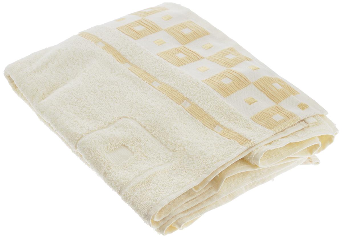 Полотенце Aisha Home Textile, цвет: слоновая кость, 50 х 90 см80663Полотенце Aisha Home Textile выполнено из 100% хлопка. Изделие отлично впитывает влагу, быстро сохнет, сохраняет яркость цвета и не теряет форму даже после многократных стирок. Такое полотенце очень практично и неприхотливо в уходе. Оно создаст прекрасное настроение и украсит интерьер в ванной комнате. Полотенце упаковано в красивую коробку и может послужит отличной идеей подарка.
