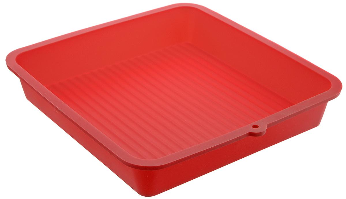 Форма для выпечки LaSella, силиконовая, цвет: красный, 23 х 23 х 4,5 см54 009312Форма для выпечки LaSella выполнена из высококачественного 100% пищевого силикона. Идеально подходит для приготовления выпечки, десертов и холодных закусок. Форма выдерживает температуру от -40 до +240°C, обладает естественными антипригарными свойствами. Не выделяет вредных веществ при высоких температурах. Подходит для использования в духовке и микроволновой печи. Размер формы: 23 х 23 х 4,5 см.Размер дна: 19 х 19 см.