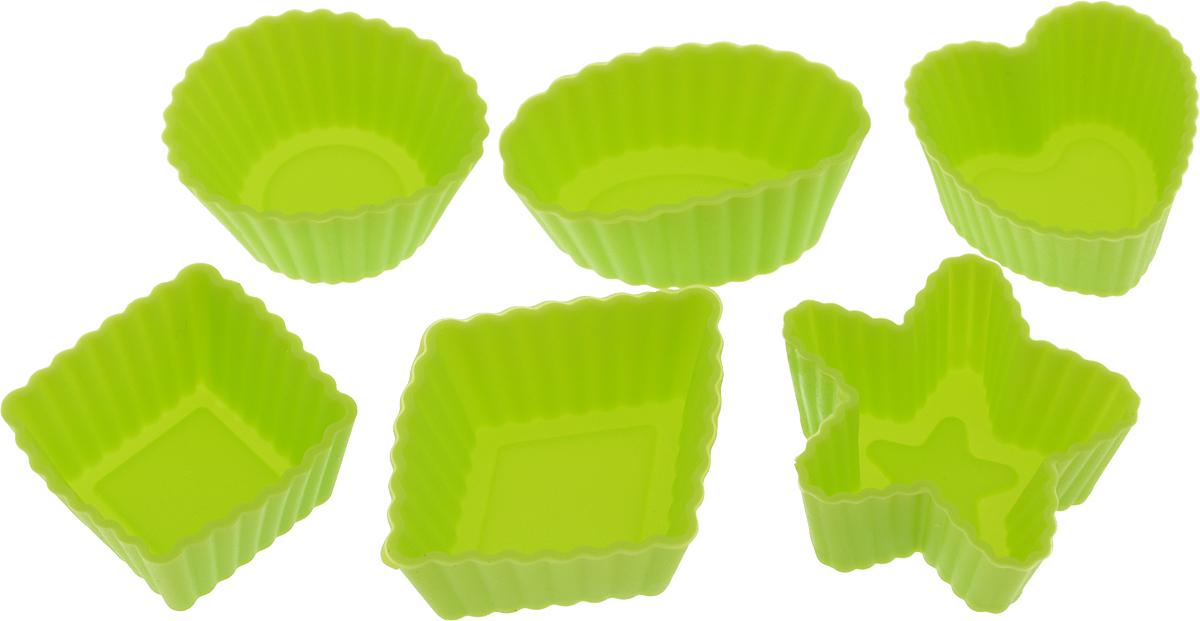 Набор форм для выпечки LaSella, цвет: салатовый, 6 штM14RНабор LaSella состоит из шести форм, выполненных из силикона с рельефными стенками. Изделия предназначены для выпечки и заморозки. Формочки выполнены в виде круга, овала, звезды, квадрата и сердца.Силиконовые формы для выпечки имеют много преимуществ по сравнению с традиционными металлическими формами и противнями. Они идеально подходят для использования в микроволновых, газовых и электрических печах при температурах до +210°С. В случае заморозки до -40°С. Благодаря гибкости и антипригарным свойствам силикона, готовое изделие легко извлекается из формы. Силикон абсолютно безвреден для здоровья, не впитывает запахи, не оставляет пятен, легко моется. С таким набором LaSella вы всегда сможете порадовать своих близких оригинальной выпечкой.Средний размер формы: 3 х 3 х 1,5 см.