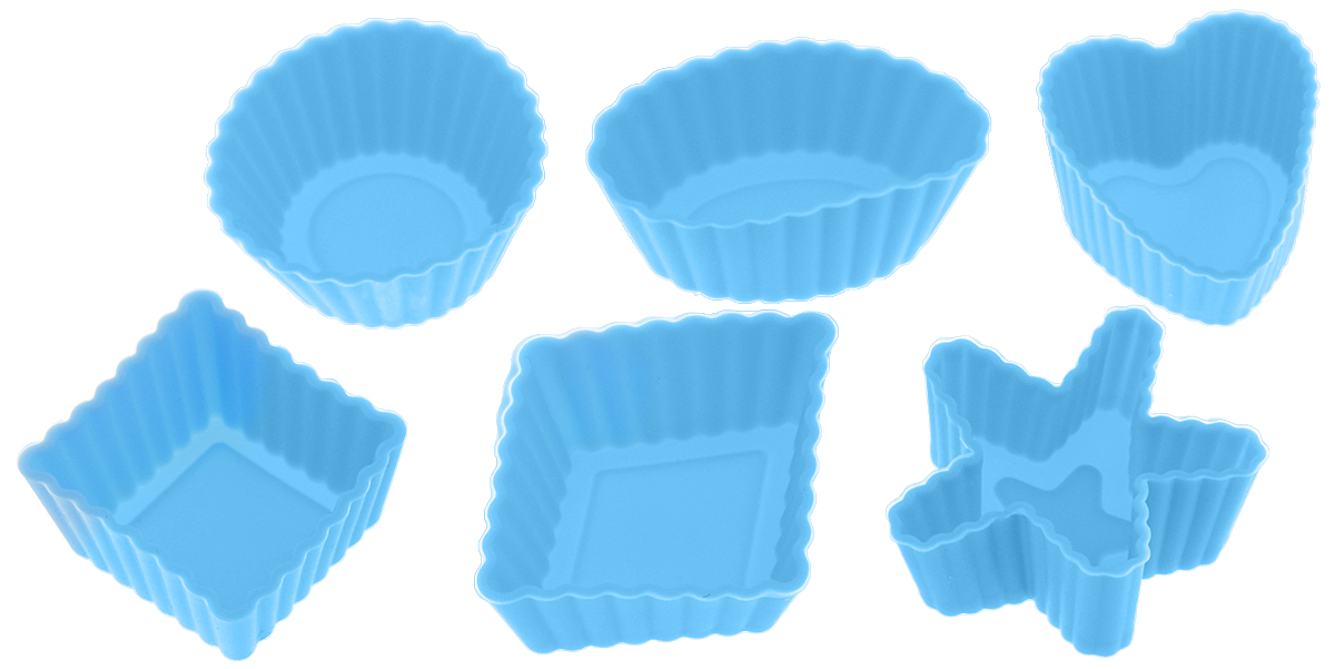 Набор форм для выпечки LaSella, цвет: голубой, 6 шт54 009312Набор LaSella состоит из шести форм, выполненных из силикона с рельефными стенками. Изделия предназначены для выпечки и заморозки. Формочки выполнены в виде круга, овала, звезды, квадрата и сердца.Силиконовые формы для выпечки имеют много преимуществ по сравнению с традиционными металлическими формами и противнями. Они идеально подходят для использования в микроволновых, газовых и электрических печах при температурах до +210°С. В случае заморозки до -40°С. Благодаря гибкости и антипригарным свойствам силикона, готовое изделие легко извлекается из формы. Силикон абсолютно безвреден для здоровья, не впитывает запахи, не оставляет пятен, легко моется. С таким набором LaSella вы всегда сможете порадовать своих близких оригинальной выпечкой.Средний размер формы: 3 х 3 х 1,5 см.
