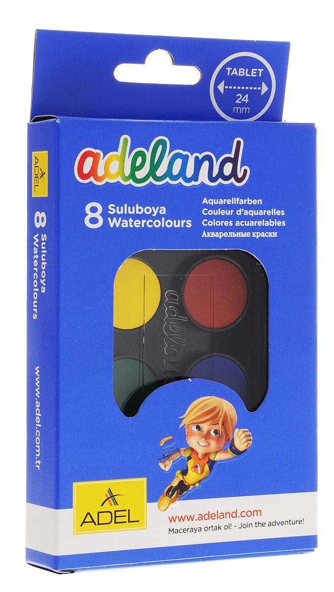 Adel Краски акварельные Adeland 8 цветов540390Водорастворимые акварельные краски Adel Adeland созданы для рисования кистью на бумаге, картоне или керамике.Путем смешивания красок может получится неограниченное количество тонов. Краски упакованы в пластиковый корпус с прозрачной крышкой.В комплект входит 8 насыщенных цветов и кисточка. Краски не содержат вредные для здоровья материалы.