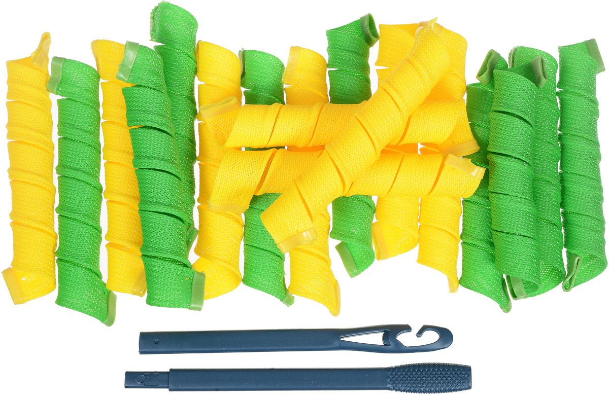 Дива Волшебные бигуди Широкие, 44 см 18 штCLK 553Бигуди Magic Leverag:- создают большой объем,- обеспечивают бережное отношение к волосам,- легки в использовании.- эффектные кудряшки за полчасаБигуди этой формы помогают придать объем, быстро и без усилий обзавестись крупными и средними кудрями. Эластичная сеточка из полимерных волокон позволяет получить плавные округлые завитки без заломов. Силиконовые наконечники не дают спиралькам сползать, и при этом легко снимаются с сухих волос.Чтобы получить идеальную прическу, достаточно закрепить бигуди на волосах влажностью 60-70% и просушить их феном или оставить до утра. На мягких Magic Leverag можно проспать всю ночь, не ощущая неудобства. Все 18 широких и длинных бигуди Дива закручиваются в одну сторону, а значит вы легко проконтролируете направление локонов и равномерность укладки. Характеристики:Длина: 44 смШирина локона: 2,2 смДиаметр завитка: 2,5 смКоличество: 18 шт.Крючок: двойнойУпаковка: косметичка