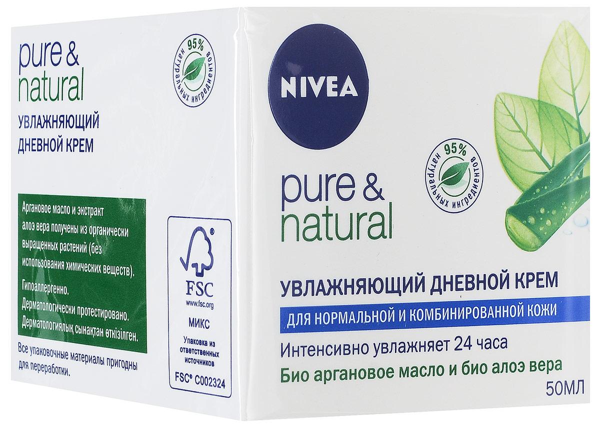 NIVEA Увлажняющий дневной крем Pure &Natural для нормальной и комбинированной кожи 50 мл0861-10785Увлажняющий дневной крем Pure & Natural от Nivea специально создан для нормальной и комбинированной кожи. День за днем натуральные ингредиенты этого крема восстанавливают природный баланс кожи, возвращая ей естественный, здоровый вид. Характеристики:Объем: 50 мл. Производитель: Польша. Артикул: 81184. Товар сертифицирован.
