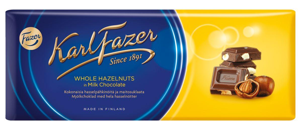 Karl Fazer Молочный шоколад с цельным фундуком, 200 г0120710Любителей побаловать себя сладостями привлечет большая плитка шоколада Karl Fazer. Попробуйте 200 граммов удовольствия и блаженства, которые вы можете испытать как в одиночку, так и поделиться с друзьями и близкими.Шоколад является обладателем оригинального молочного вкуса, которого удалось добиться благодаря смешиванию в оптимальных пропорциях отборного какао и молока. Ядра цельного фундука не только являются украшением сладости, но и придают ему своеобразный вкус и аромат. Благодаря оптимальному сочетанию ингредиентов, молочный шоколад идеально подходит как к чаю и кофе, так и к соку и вину.