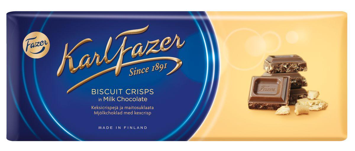 Karl Fazer Молочный шоколад с крошкой печенья, 195 г0120710Молочный шоколад Karl Fazer из какао высокого качества, наполненный маленькими кусочками бисквитного печенья - сочетание, которому трудно сопротивляться.Рецепт молочного шоколада Karl Fazer - строго охраняемая тайна. Тщательный подбор сырья вместе с передовой производственной технологией гарантируют, что вкус шоколада Karl Fazer остается таким же нежным, как и много лет назад.Karl Fazer - шоколад высокого качества, который дарит истинное удовольствие и наслаждение, всегда оправдывая, а порой и превосходя его ожидания.Уважаемые клиенты! Обращаем ваше внимание, что полный перечень состава продукта представлен на дополнительном изображении.