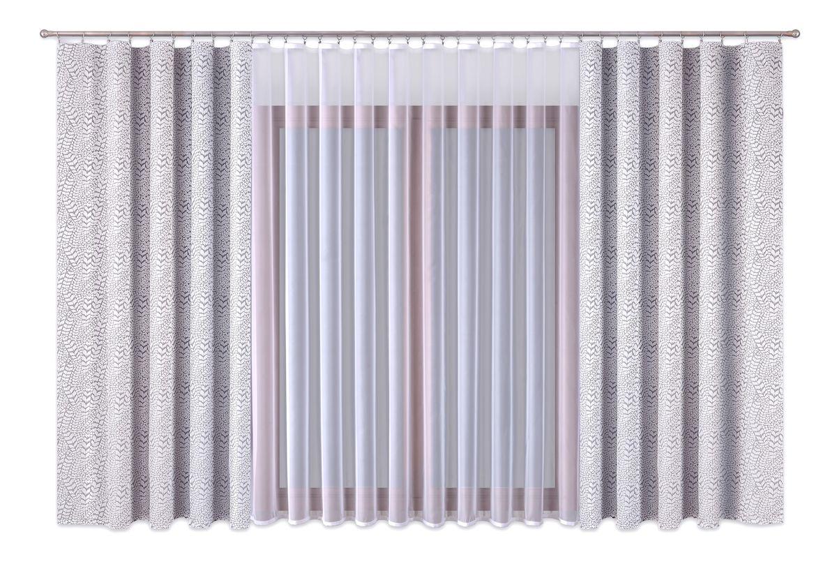Комплект штор P Primavera Firany, на ленте, цвет: серый, белый, высота 260 см. 111001248557_ЛЮВЕРСЫРоскошный комплект штор P Primavera Firany, выполненный из полиэстровой жаккардовой ткани, великолепно украсит любое окно. Комплект состоит из двух штор и тюля с пришитой шторной лентой. Изящный рисунок и приятная цветовая гамма привлекут к себе внимание и органично впишутся в интерьер помещения.Этот комплект будет долгое время радовать вас и вашу семью!