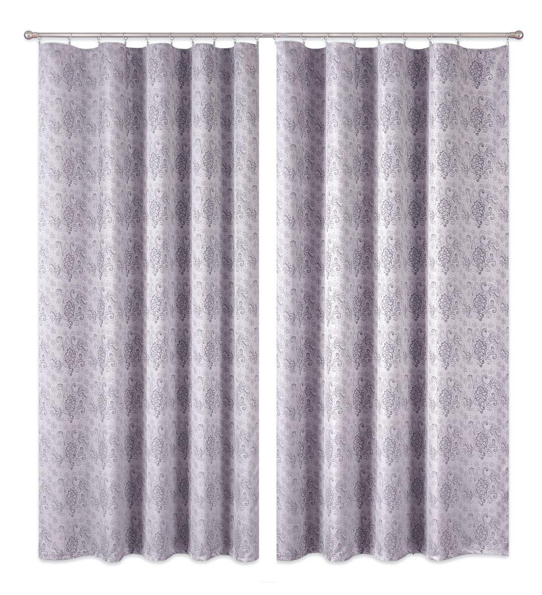 Комплект штор P Primavera Firany, цвет: серый, высота 270 см. 11100223111811376Комплект шториз полиэстровой жаккардовой ткани с пришитой шторнойлентой. Размер - ширина 180 см высота 270см. Набор 2 штуки. Цвет серый.Размер: ширина 180 х высота 270