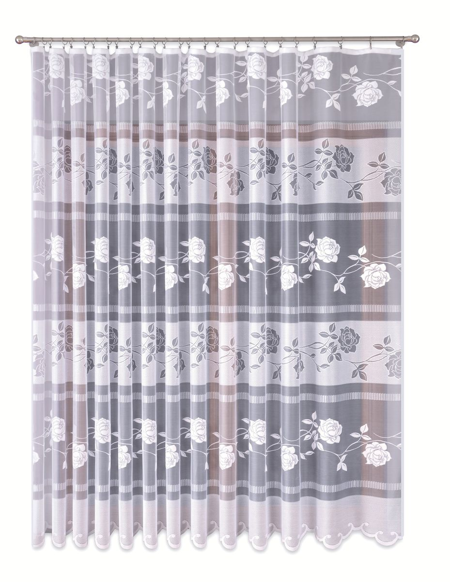 Тюль P Primavera Firany, на ленте, цвет: белый, высота 280 см. 1110149VCA-00Тюль P Primavera Firany нежного цвета изготовлена из вуали и жаккарда. Полупрозрачная ткань, приятный цвет привлекут к себе внимание и органично впишутся в интерьер помещения. Крепление к карнизу осуществляется при помощи вшитой шторной ленты, которая поможет красиво и равномерно задрапировать верх.