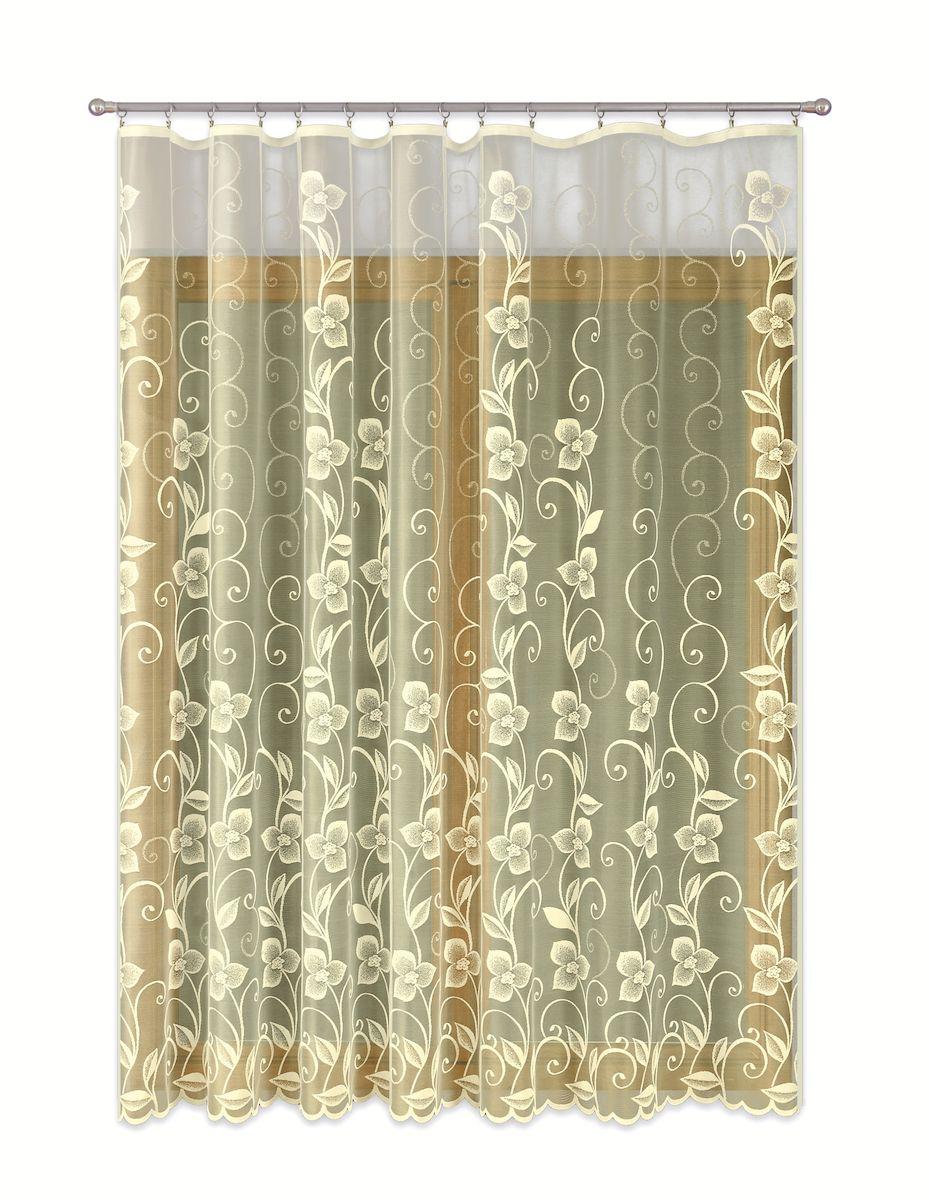 Тюль P Primavera Firany, цвет: кремовый, высота 270 см. 1110164333332Тюль жаккардовая с пришитойшторной лентой. Размер: ширина500см высота 270см. Цвет крем.Размер: ширина 500 х высота 270