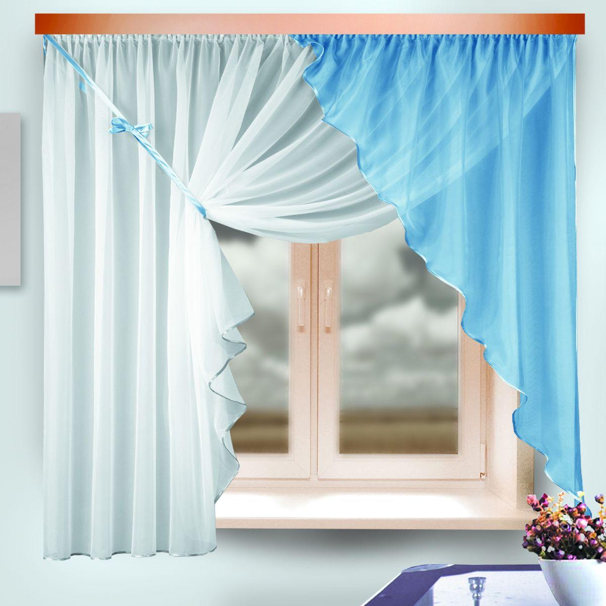Комплект штор для кухни Zlata Korunka, на ленте, цвет: белый, голубой, высота 170 см. 33331039111214600Комплект штор для кухни Zlata Korunka, выполненный из полиэстера, великолепно украсит любое окно. Комплект состоит из ламбрекена и тюля. Оригинальный крой и приятная цветовая гамма привлекут к себе внимание и органично впишутся в интерьер помещения. Этот комплект будет долгое время радовать вас и вашу семью!Комплект крепится на карниз при помощи ленты, которая поможет красиво и равномерно задрапировать верх.В комплект входит: Ламбрекен: 1 шт. Размер (Ш х В): 142 х 170 см. Тюль: 1 шт. Размер (Ш х В): 290 х 170 см.