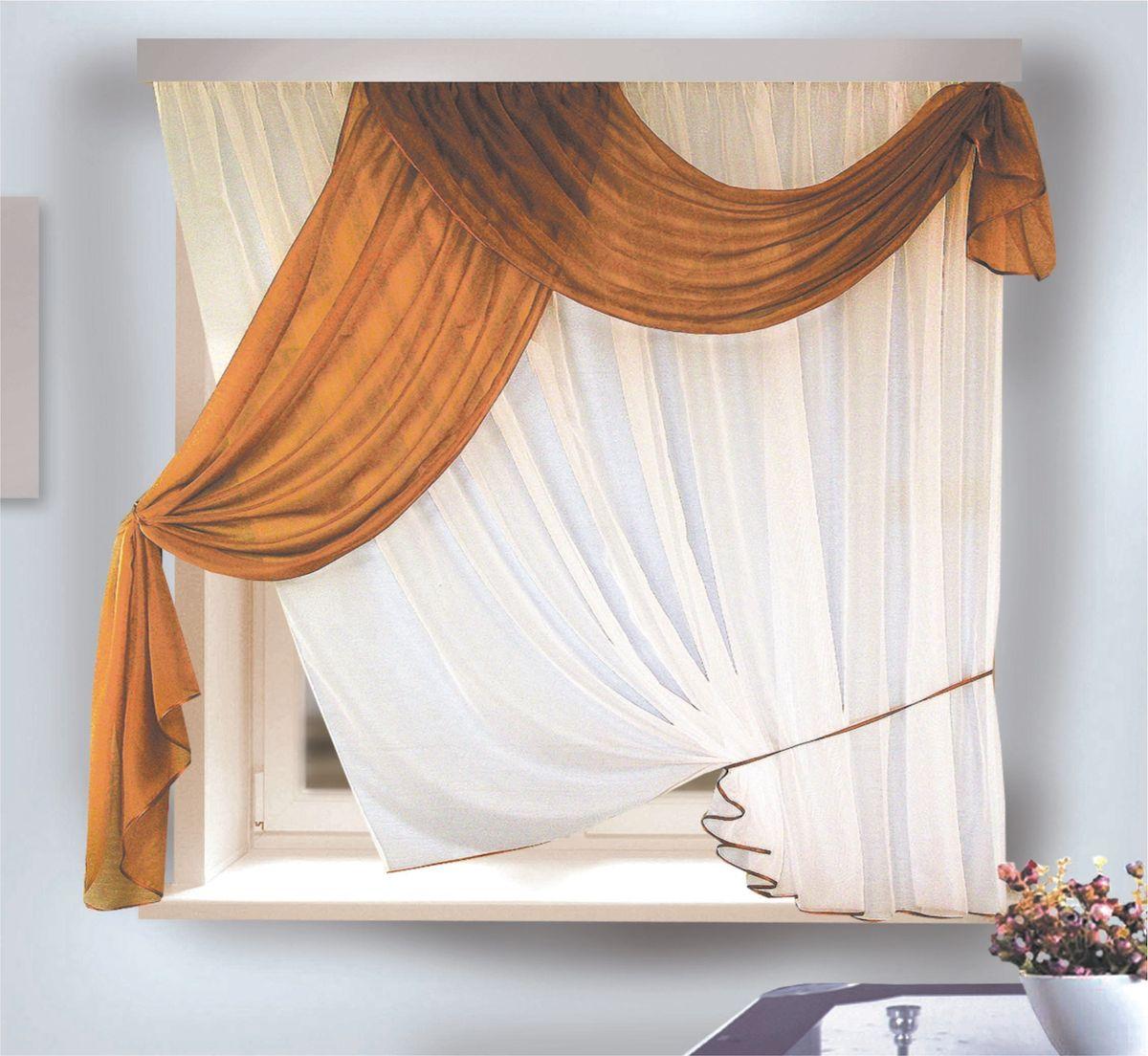 Комплект штор для кухни Zlata Korunka, на ленте, цвет: белый, коричневый, высота 170 см. 33331153797_ЛЮВЕРСЫКомплект штор для кухни Zlata Korunka, выполненный из полиэстера, великолепно украсит любое окно. Комплект состоит из тюля, ламбрекена и трех подхватов (2 из них пришиты к тюлю). Оригинальный дизайн и приятная цветовая гамма привлекут к себе внимание и органично впишутся в интерьер помещения. Этот комплект будет долгое время радовать вас и вашу семью!Комплект крепится на карниз при помощи ленты, которая поможет красиво и равномерно задрапировать верх.В комплект входит: Ламбрекен: 1 шт. Размер (Ш х В): 90 х 170 см. Тюль: 1 шт. Размер (Ш х В): 280 х 170 см.Подхват: 3 шт.