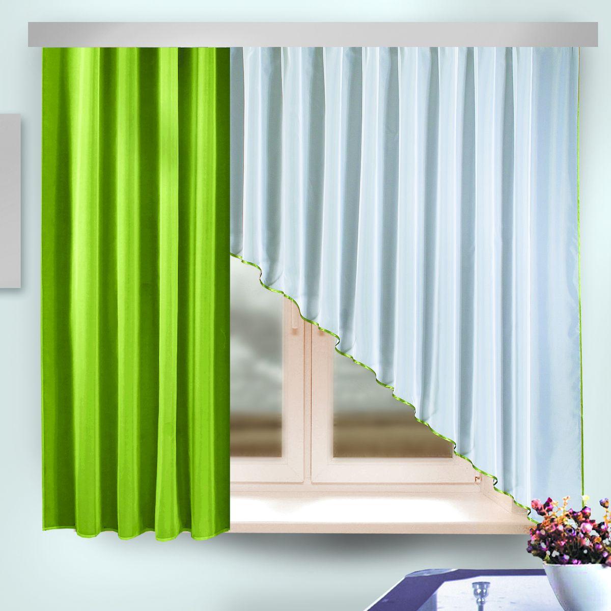 Комплект штор Zlata Korunka, на ленте, цвет: зеленый, белый, высота 170 см. 333314VCA-00Комплект штор Zlata Korunka, выполненный из полиэстера, великолепно украсит любое окно. Комплект состоит из шторы и ламбрекена. Изящная форма и приятная цветовая гамма привлекут к себе внимание и органично впишутся в интерьер помещения. Этот комплект будет долгое время радовать вас и вашу семью!Комплект крепится на карниз при помощи ленты, которая поможет красиво и равномерно задрапировать верх.В комплект входит: Ламбрекен: 1 шт. Размер (Ш х В): 95 см х 170 см. Штора: 1 шт. Размер (Ш х В): 290 см х 170 см.