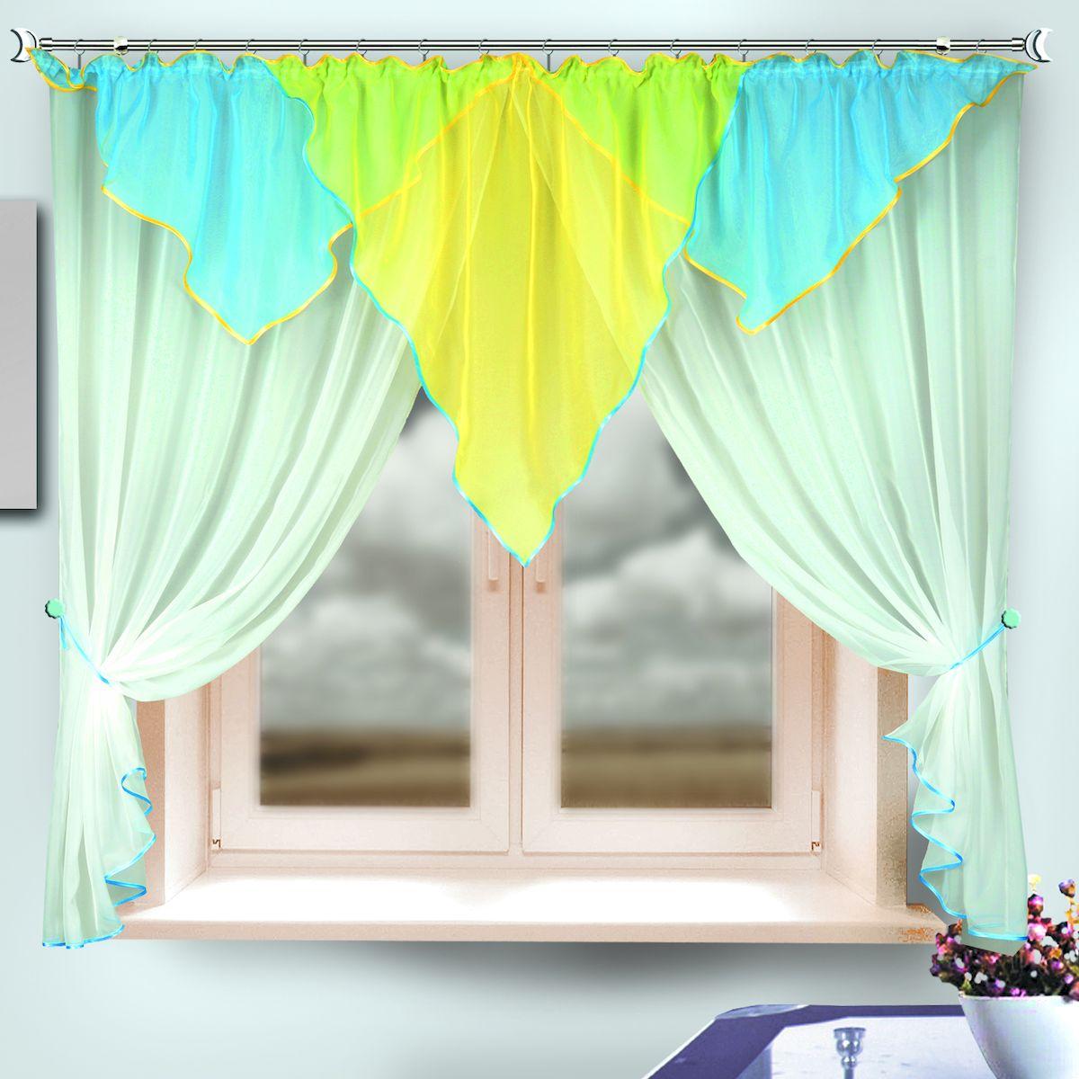 Комплект штор для кухни Zlata Korunka, на ленте, цвет: белый, голубой, желтый, высота 170 см. 333315BH-UN0502( R)Комплект штор для кухни Zlata Korunka, выполненный из полиэстера, великолепно украсит любое окно. Комплект состоит из ламбрекена, двух штор и двух подхватов. Оригинальный крой и яркая цветовая гамма привлекут к себе внимание и органично впишутся в интерьер помещения. Этот комплект будет долгое время радовать вас и вашу семью!Комплект крепится на карниз при помощи ленты, которая поможет красиво и равномерно задрапировать верх. В комплект входит: Ламбрекен: 1 шт. Размер (Ш х В): 290 х 100 см. Штора: 2 шт. Размер (Ш х В): 140 х 170 см.Подхват: 2 шт.