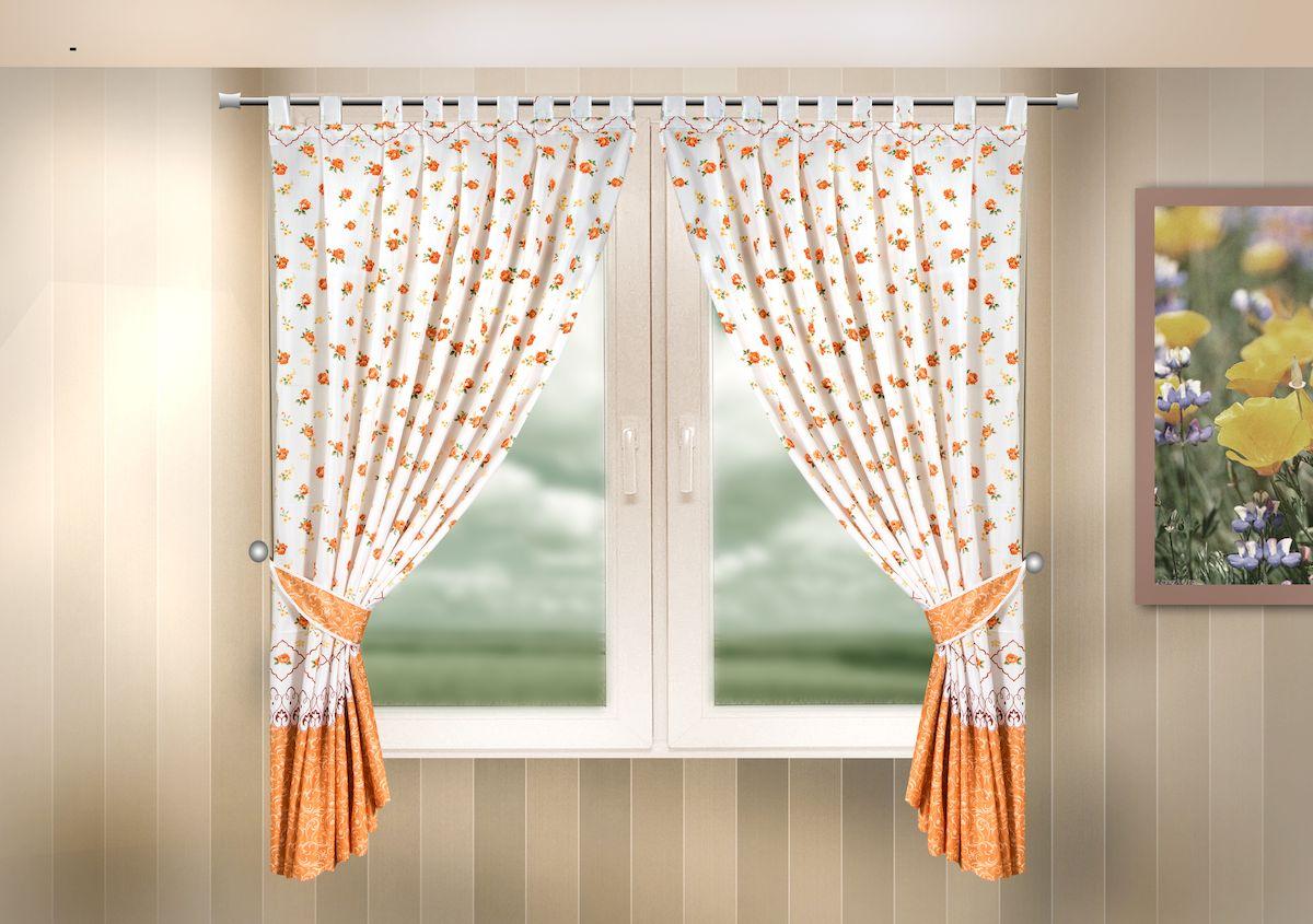 Комплект штор для кухни Zlata Korunka, на петлях, цвет: оранжевый, высота 170 см. 333316S03301004Комплект штор для кухни Zlata Korunka, выполненный из полиэстера, великолепно украсит любое окно. Комплект состоит из 2 штор и 2 подхватов. Цветочный рисунок и приятная цветовая гамма привлекут к себе внимание и органично впишутся в интерьер помещения. Этот комплект будет долгое время радовать вас и вашу семью!Комплект крепится на карниз при помощи петель.В комплект входит: Штора: 2 шт. Размер (Ш х В): 140 х 170 см.Подхват: 2 шт.