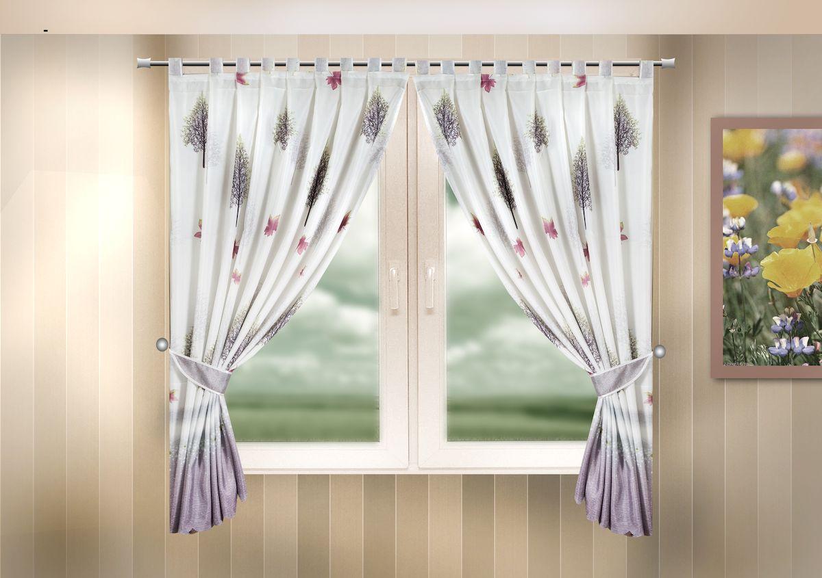 Комплект штор для кухни Zlata Korunka, на петлях, цвет: сиреневый, высота 170 см. 333323CLP446Комплект штор для кухни Zlata Korunka, выполненный из полиэстера, великолепно украсит любое окно. Комплект состоит из 2 штор и 2 подхватов. Оригинальный рисунок и приятная цветовая гамма привлекут к себе внимание и органично впишутся в интерьер помещения. Этот комплект будет долгое время радовать вас и вашу семью!Комплект крепится на карниз при помощи петель.В комплект входит: Штора: 2 шт. Размер (Ш х В): 140 х 170 см.Подхват: 2 шт.