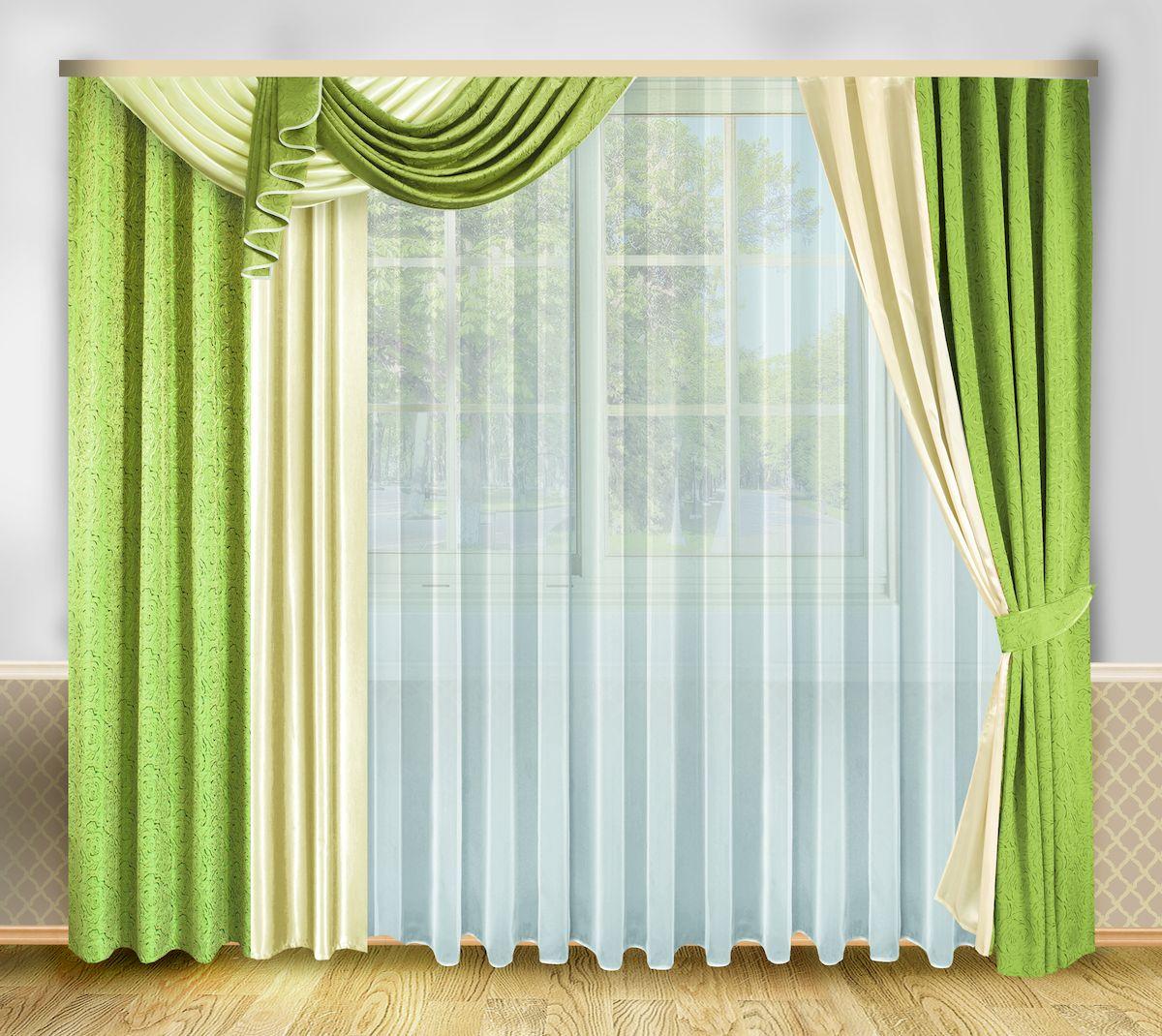 Комплект штор Zlata Korunka, на ленте, цвет: зеленый, высота 250 см. 3333283111417376Роскошный комплект штор Zlata Korunka, выполненный из полиэстера, великолепно украсит любое окно. Комплект состоит из тюля, ламбрекена, двух штор и двух подхватов. Изящный узор и приятная цветовая гамма привлекут к себе внимание и органично впишутся в интерьер помещения. Этот комплект будет долгое время радовать вас и вашу семью!Комплект крепится на карниз при помощи ленты, которая поможет красиво и равномерно задрапировать верх.В комплект входит: Тюль: 1 шт. Размер (Ш х В): 500 см х 250 см. Ламбрекен: 1 шт. Размер (Ш х В): 140 см х 45 см. Штора: 2 шт. Размер (Ш х В): 208 см х 250 см.Подхват: 2 шт.