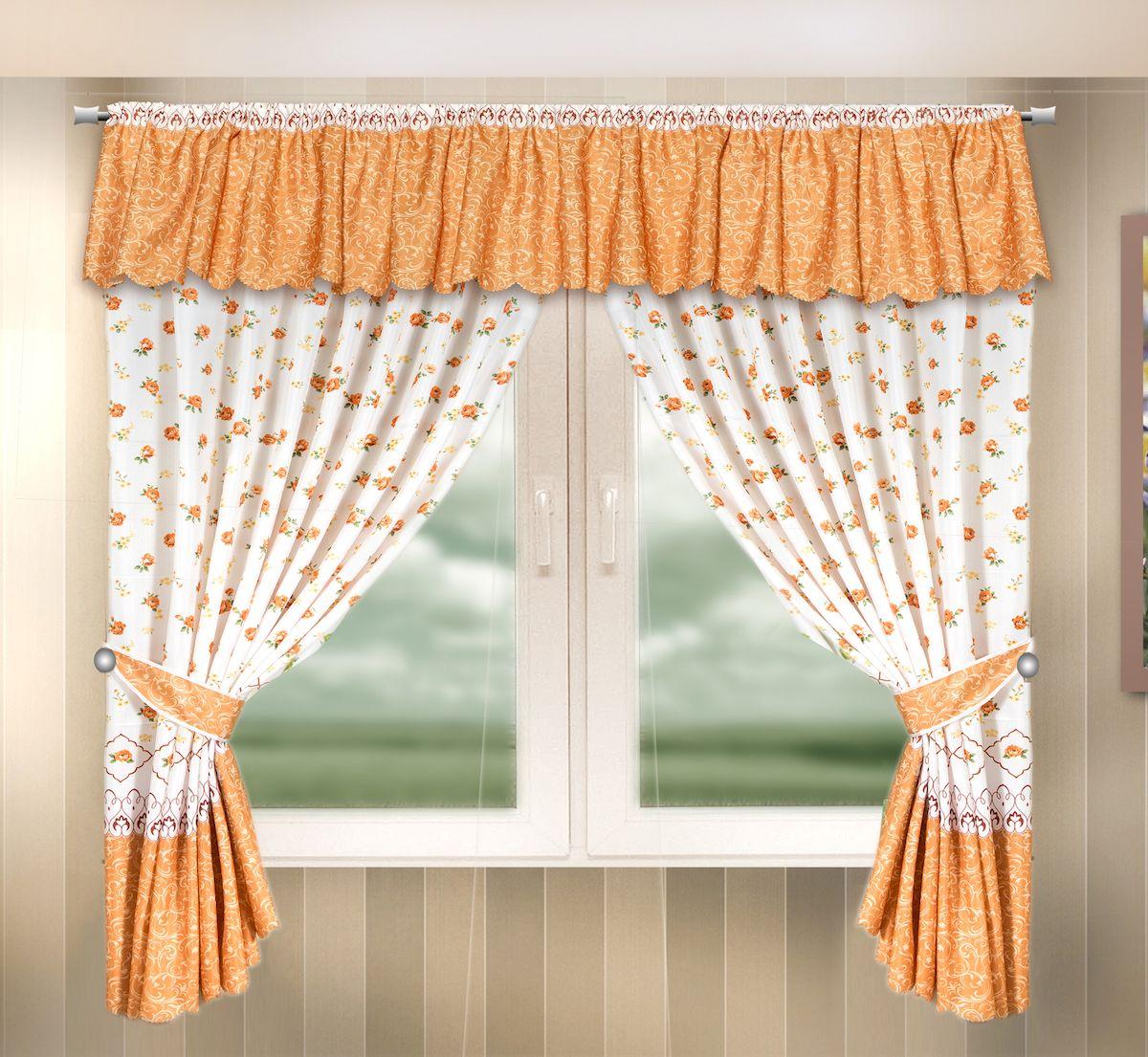 Комплект штор для кухни Zlata Korunka, на кулиске, цвет: оранжевый, высота 170 см. 33332910503Комплект штор для кухни Zlata Korunka, выполненный из полиэстера, великолепно украсит любое окно. Комплект состоит из ламбрекена, 2 штор и 2 подхватов. Цветочный рисунок и приятная цветовая гамма привлекут к себе внимание и органично впишутся в интерьер помещения. Этот комплект будет долгое время радовать вас и вашу семью!Комплект крепится на карниз при помощи кулиски.В комплект входит: Ламбрекен: 1 шт. Размер (Ш х В): 290 х 35 см.Штора: 2 шт. Размер (Ш х В): 140 х 170 см.Подхват: 2 шт.