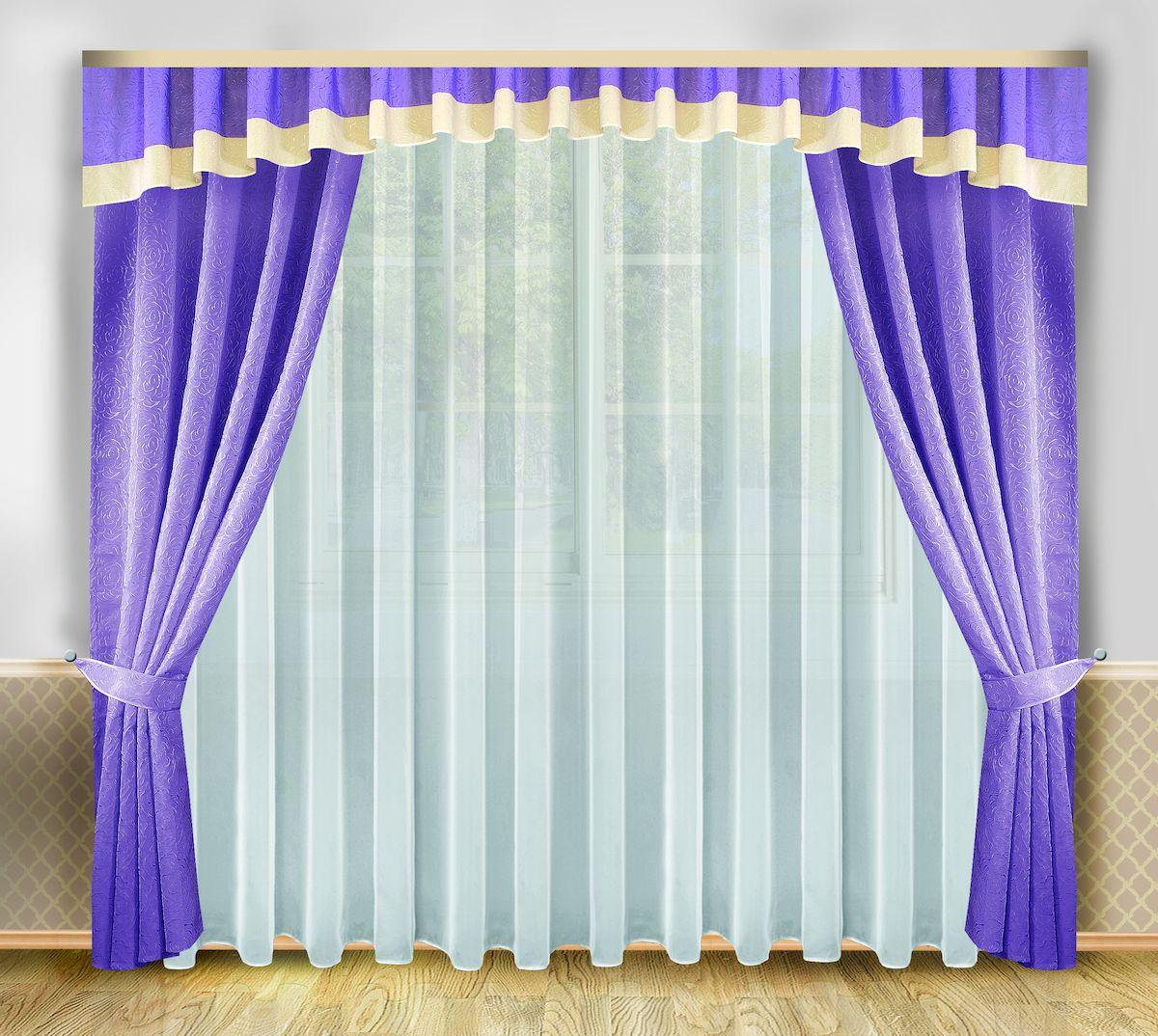 Комплект штор Zlata Korunka, на ленте, цвет: сиреневый, высота 250 см. 333330956251325Комплект штор Zlata Korunka, выполненный из полиэстера, великолепно украсит любое окно. Комплект состоит из тюля, ламбрекена, двух штор и двух подхватов. Изящный узор и приятная цветовая гамма привлекут к себе внимание и органично впишутся в интерьер помещения. Этот комплект будет долгое время радовать вас и вашу семью!Комплект крепится на карниз при помощи ленты, которая поможет красиво и равномерно задрапировать верх.В комплект входит: Тюль: 1 шт. Размер (Ш х В): 400 см х 250 см. Ламбрекен: 1 шт. Размер (Ш х В): 550 см х 40 см. Штора: 2 шт. Размер (Ш х В): 138 см х 250 см.Подхват: 2 шт.