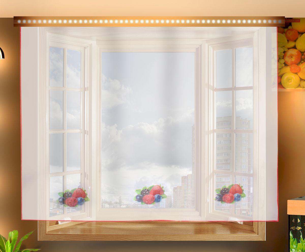 Штора для кухни Zlata Korunka, на ленте, цвет: белый, высота 150 см. 33333104675-ФТ-ВЛ-001Штора Zlata Korunka, изготовленная из полиэстера, станет великолепным украшением любого окна. Полотно из белой вуали с рисунком в виде ягод привлечет к себе внимание и органично впишется в интерьер кухни. Штора крепится на карниз при помощи ленты, которая поможет красиво и равномерно задрапировать верх.