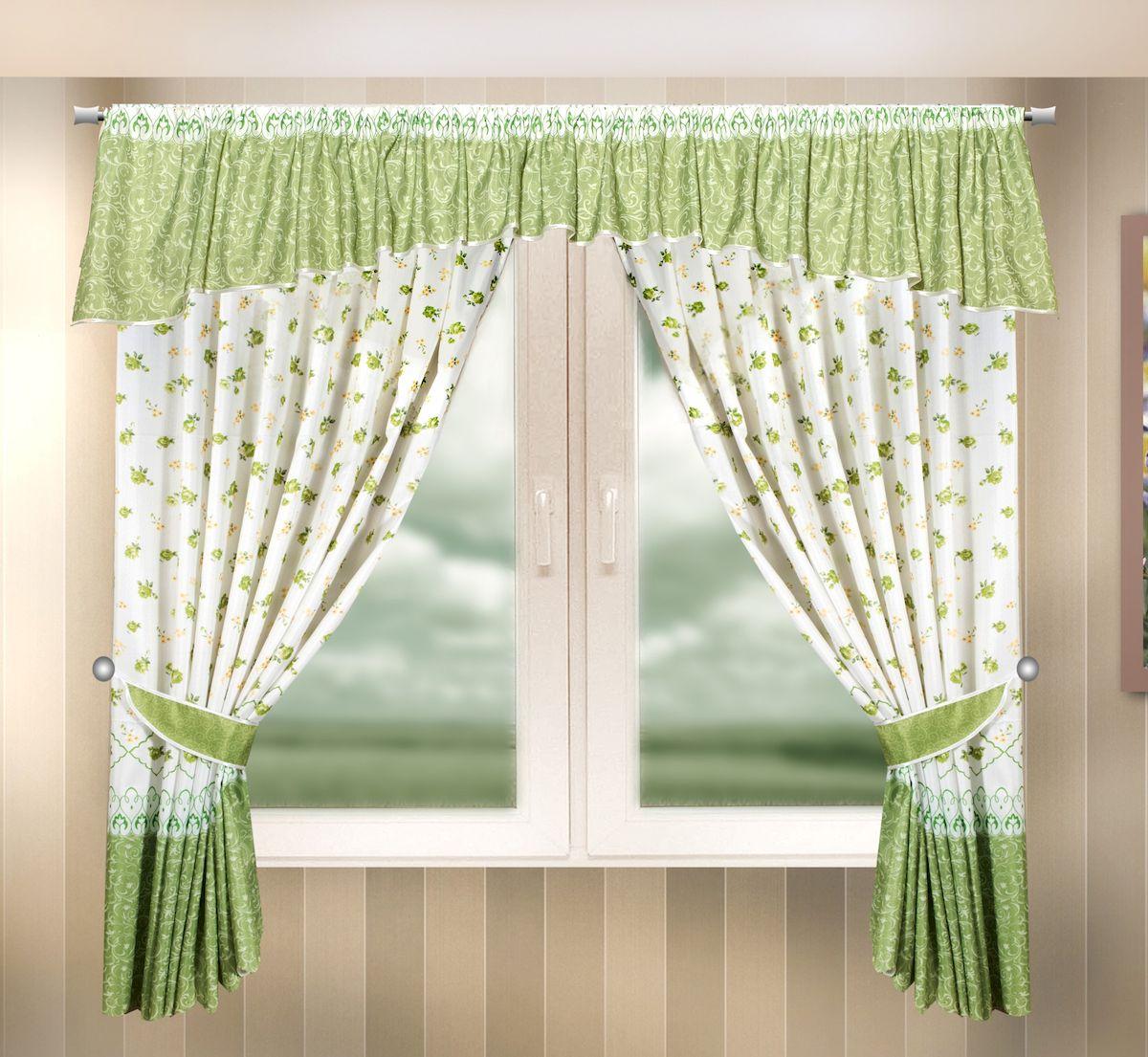 Комплект штор для кухни Zlata Korunka, на ленте, цвет: зеленый, высота 170 см. 33333698299571Комплект штор для кухни Zlata Korunka, выполненный из полиэстера, великолепно украсит любое окно. Комплект состоит из ламбрекена, 2 штор и 2 подхватов. Цветочный рисунок и приятная цветовая гамма привлекут к себе внимание и органично впишутся в интерьер помещения. Этот комплект будет долгое время радовать вас и вашу семью!Комплект крепится на карниз при помощи ленты, которая поможет красиво и равномерно задрапировать верх.В комплект входит: Ламбрекен: 1 шт. Размер (Ш х В): 290 х 35 см.Штора: 2 шт. Размер (Ш х В): 140 х 170 см.Подхват: 2 шт.