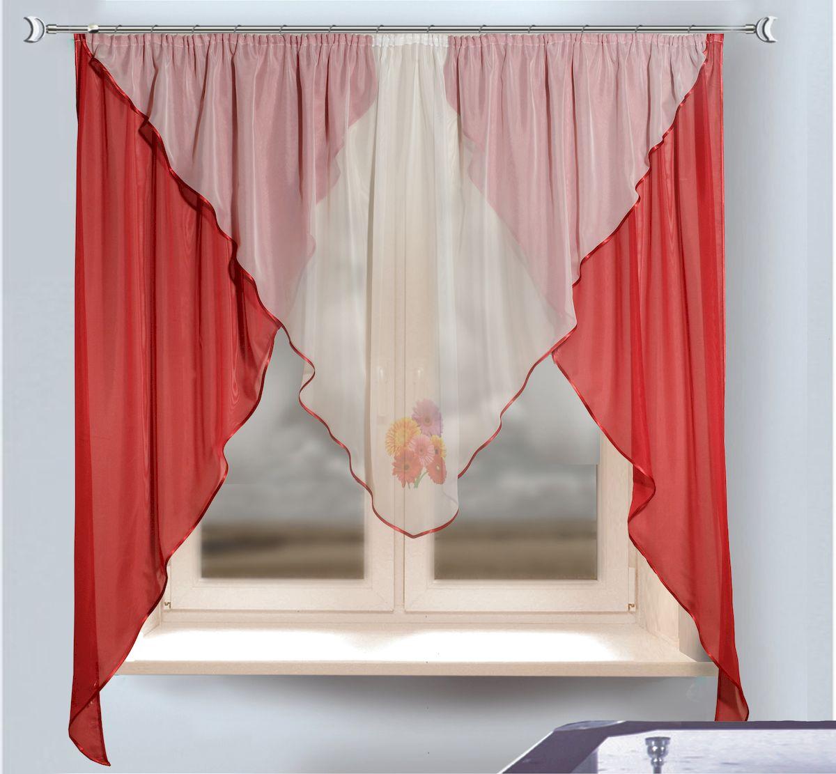 Комплект штор для кухни Zlata Korunka, на ленте, цвет: бордовый, белый, высота 170 см. 333339956251325Комплект штор для кухни Zlata Korunka, выполненный из полиэстера, великолепно украсит любое окно. Комплект состоит из тюля, ламбрекена и двух штор. Оригинальный крой и приятная цветовая гамма привлекут к себе внимание и органично впишутся в интерьер помещения. Этот комплект будет долгое время радовать вас и вашу семью!Комплект крепится на карниз при помощи ленты, которая поможет красиво и равномерно задрапировать верх.В комплект входит: Ламбрекен: 1 шт. Размер (Ш х В): 280 х 115 см. Тюль: 1 шт. Размер (Ш х В): 280 х 170 см.Штора: 2 шт. Размер (Ш х В): 130 х 170 см.