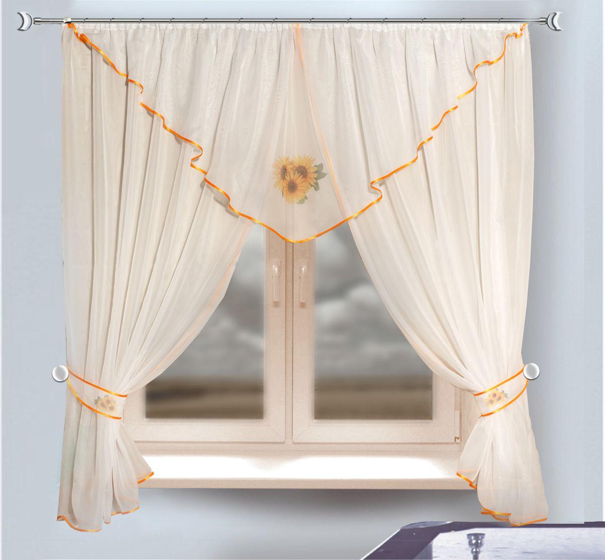Комплект штор для кухни Zlata Korunka, на ленте, цвет: белый, высота 170 см. 333340333340Комплект штор для кухни Zlata Korunka, выполненный из полиэстера, великолепно украсит любое окно. Комплект состоит из ламбрекена, двух штор и двух подхватов. Принт с подсолнухам и приятная цветовая гамма привлекут к себе внимание и органично впишутся в интерьер помещения. Этот комплект будет долгое время радовать вас и вашу семью!Комплект крепится на карниз при помощи ленты, которая поможет красиво и равномерно задрапировать верх.В комплект входит: Ламбрекен: 1 шт. Размер (Ш х В): 280 х 75 см. Штора: 2 шт. Размер (Ш х В): 140 х 170 см.Подхват: 2 шт.