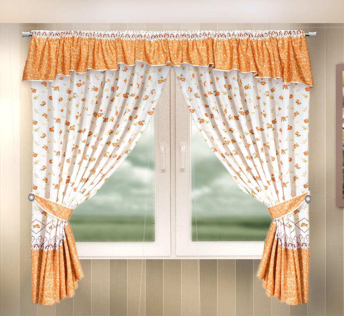 Комплект штор для кухни Zlata Korunka, на кулиске, цвет: оранжевый, высота 170 см. 333341333341Комплект штор для кухни Zlata Korunka, выполненный из полиэстера, великолепно украсит любое окно. Комплект состоит из ламбрекена, 2 штор и 2 подхватов. Цветочный рисунок и приятная цветовая гамма привлекут к себе внимание и органично впишутся в интерьер помещения. Этот комплект будет долгое время радовать вас и вашу семью!Комплект крепится на карниз при помощи кулиски.В комплект входит: Ламбрекен: 1 шт. Размер (Ш х В): 290 х 35 см.Штора: 2 шт. Размер (Ш х В): 140 х 170 см.Подхват: 2 шт.