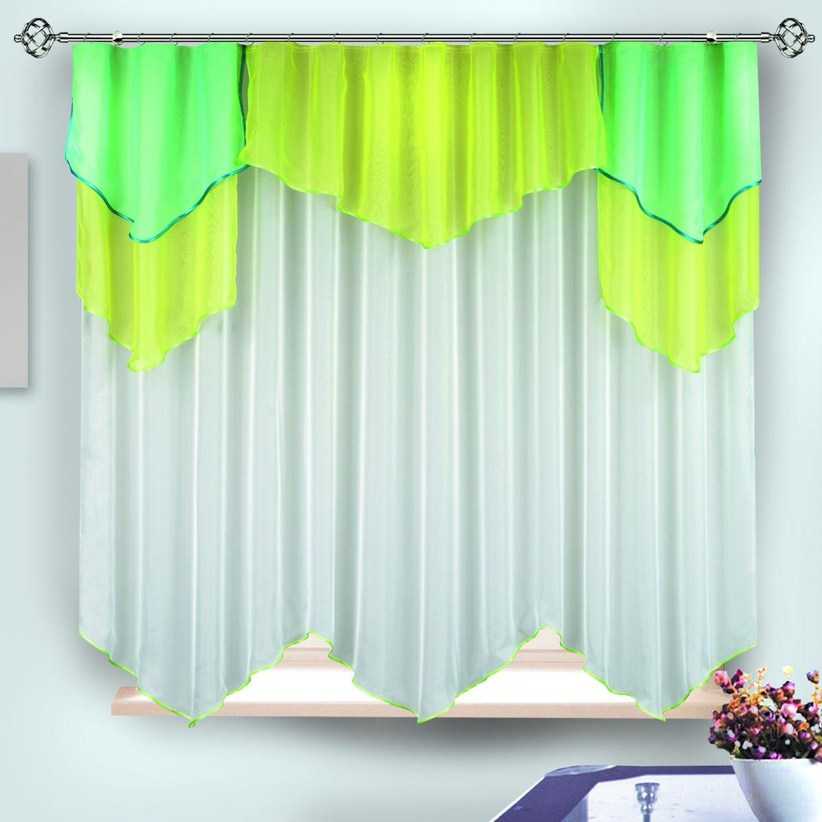 Комплект штор для кухни Zlata Korunka, на ленте, цвет: желтый, зеленый, белый, высота 170 см. 333393111286614Комплект штор для кухни Zlata Korunka, выполненный из полиэстера, великолепно украсит любое окно. Комплект состоит из тюля и ламбрекена. Оригинальный крой и приятная цветовая гамма привлекут к себе внимание и органично впишутся в интерьер помещения. Этот комплект будет долгое время радовать вас и вашу семью!Комплект крепится на карниз при помощи ленты, которая поможет красиво и равномерно задрапировать верх.В комплект входит: Ламбрекен: 1 шт. Размер (Ш х В): 280 х 85 см. Тюль: 1 шт. Размер (Ш х В): 280 х 170 см.
