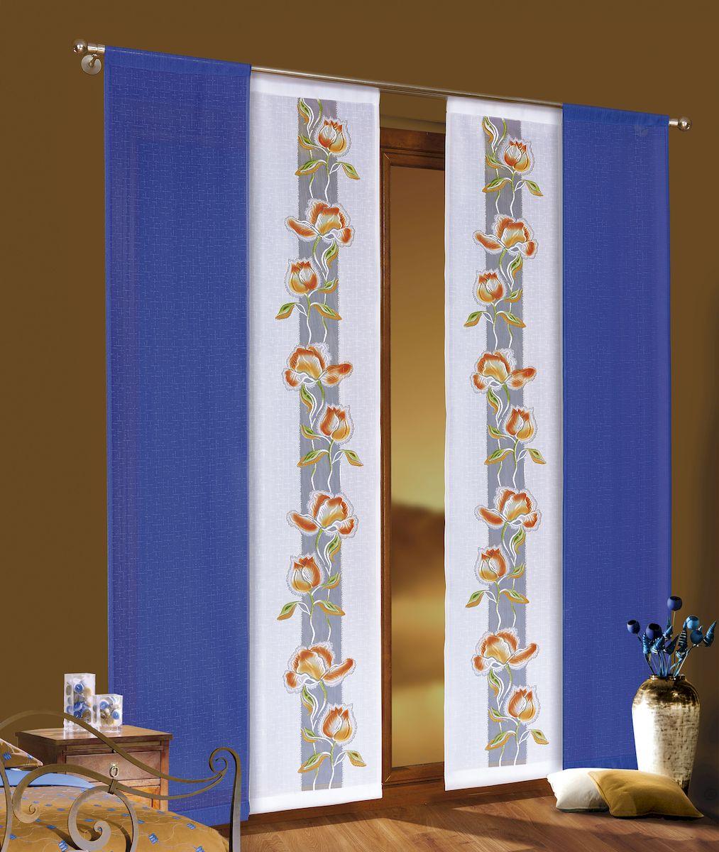 Комплект гардин-панно Wisan, цвет: синий, оранжевый, высота 220 см. 3457