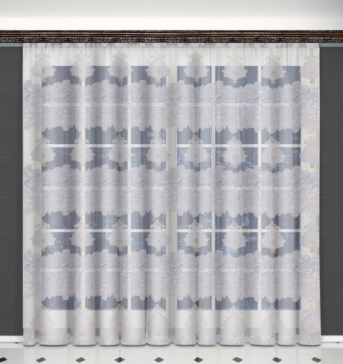 Тюль Zlata Korunka, на ленте, цвет: белый, золотистый, высота 270 см. 556293111512630Тюль Zlata Korunka, изготовленный из полиэстера, великолепно украсит любое окно. Воздушная ткань и оригинальный орнамент привлекут к себе внимание и органично впишутся в интерьер помещения. Полиэстер - вид ткани, состоящий из полиэфирных волокон. Ткани из полиэстера - легкие, прочные и износостойкие. Такие изделия не требуют специального ухода, не пылятся и почти не мнутся.Тюль крепится на карниз при помощи ленты, которая поможет красиво и равномерно задрапировать верх. Такой тюль идеально оформит интерьер любого помещения.