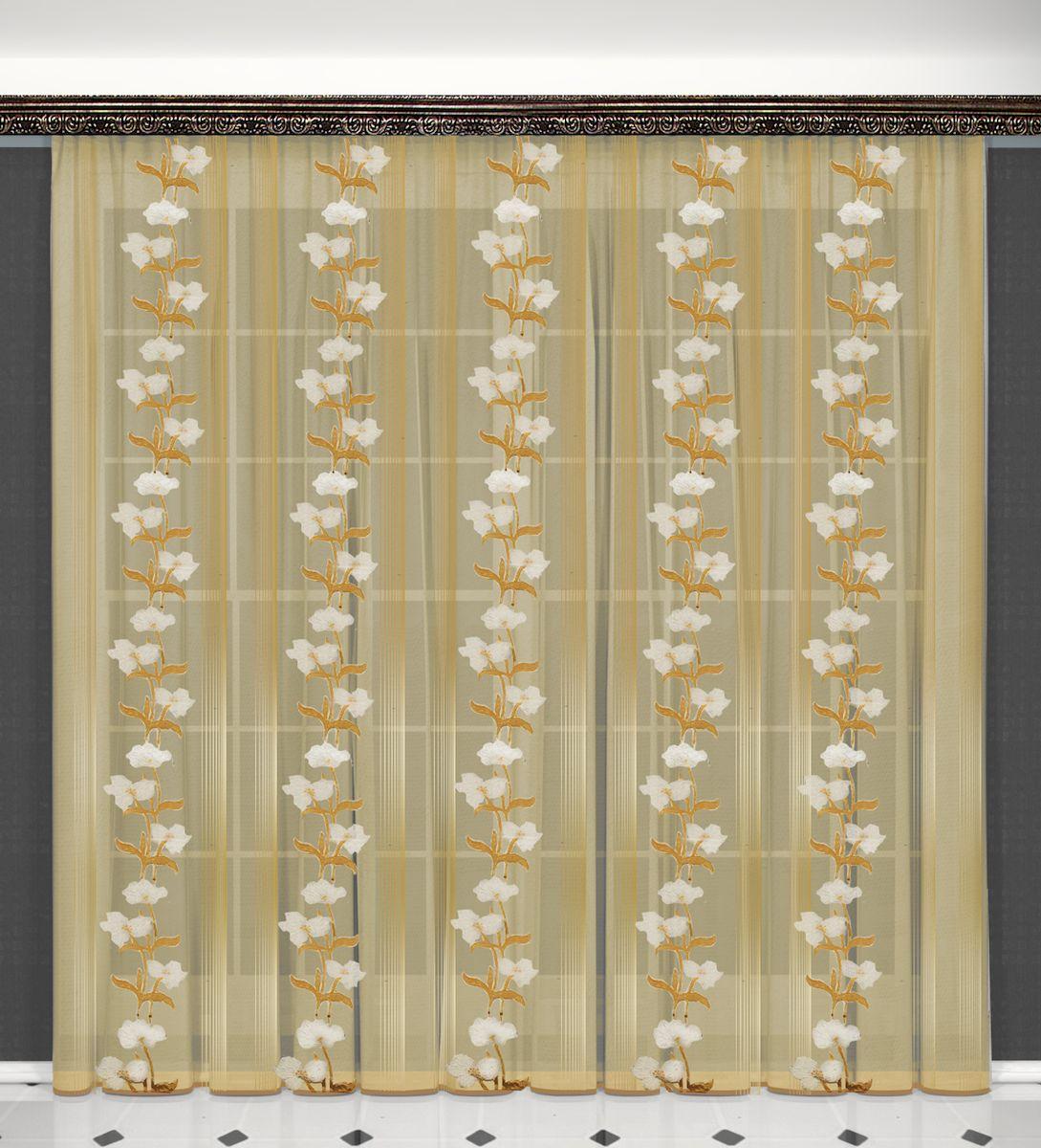 Тюль Zlata Korunka, на ленте, цвет: бежевый, высота 270 см. 55632106-026Тюль Zlata Korunka, изготовленный из полиэстера, великолепно украсит любое окно. Воздушная ткань и нежный цветочный рисунок привлекут к себе внимание и органично впишутся в интерьер помещения. Полиэстер - вид ткани, состоящий из полиэфирных волокон. Ткани из полиэстера - легкие, прочные и износостойкие. Такие изделия не требуют специального ухода, не пылятся и почти не мнутся.Тюль крепится на карниз при помощи ленты, которая поможет красиво и равномерно задрапировать верх. Такой тюль идеально оформит интерьер любого помещения.