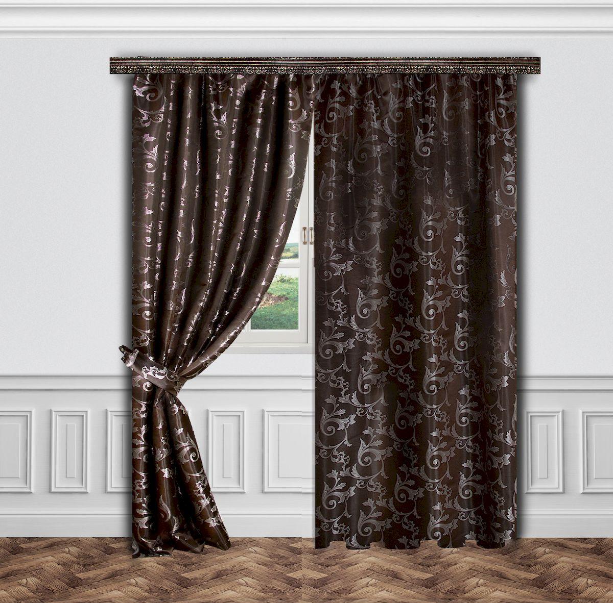 Комплект штор Zlata Korunka, на ленте, цвет: коричневый, высота 260 см. 55638DW90Роскошный комплект штор Zlata Korunka, выполненный из полиэстера, великолепно украсит любое окно. Комплект состоит двух штор и двух подхватов. Изящный узор и приятная цветовая гамма привлекут к себе внимание и органично впишутся в интерьер помещения. Этот комплект будет долгое время радовать вас и вашу семью!Комплект крепится на карниз при помощи ленты, которая поможет красиво и равномерно задрапировать верх.В комплект входит: Штора: 2 шт. Размер (Ш х В): 145 см х 260 см.Подхват: 2 шт.