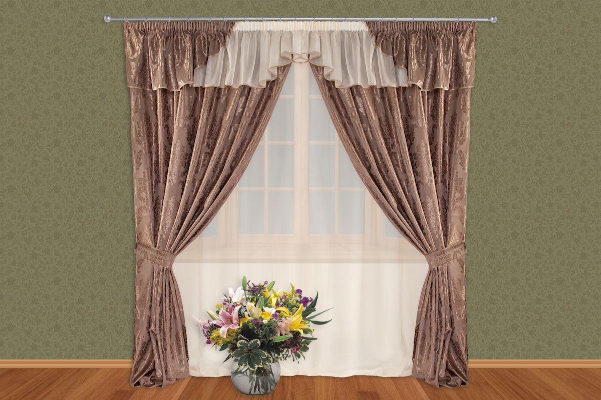 Комплект штор Zlata Korunka, на ленте, цвет: коричневый, высота 250 см. 513111815376Роскошный комплект штор Zlata Korunka, выполненный из полиэстера, великолепно украсит любое окно. Комплект состоит из тюля, ламбрекена, двух штор и двух подхватов. Изящный узор и приятная цветовая гамма привлекут к себе внимание и органично впишутся в интерьер помещения. Этот комплект будет долгое время радовать вас и вашу семью!Комплект крепится на карниз при помощи ленты, которая поможет красиво и равномерно задрапировать верх.В комплект входит: Тюль: 1 шт. Размер (Ш х В): 350 см х 250 см. Ламбрекен: 1 шт. Размер (Ш х В): 350 см х 50 см. Штора: 2 шт. Размер (Ш х В): 150 см х 250 см.Подхват: 2 шт.