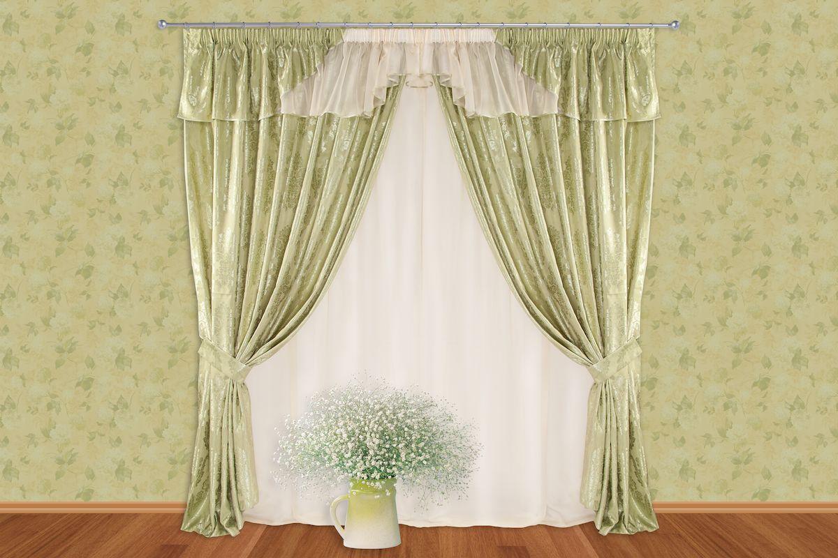 Комплект штор Zlata Korunka, на ленте, цвет: зеленый, высота 250 см. 5340.13.64.0246Роскошный комплект штор Zlata Korunka, выполненный из полиэстера, великолепно украсит любое окно. Комплект состоит из тюля, ламбрекена, двух штор и двух подхватов. Изящный узор и приятная цветовая гамма привлекут к себе внимание и органично впишутся в интерьер помещения. Этот комплект будет долгое время радовать вас и вашу семью!Комплект крепится на карниз при помощи ленты, которая поможет красиво и равномерно задрапировать верх.В комплект входит: Тюль: 1 шт. Размер (Ш х В): 350 см х 250 см. Ламбрекен: 1 шт. Размер (Ш х В): 350 см х 50 см. Штора: 2 шт. Размер (Ш х В): 150 см х 250 см.Подхват: 2 шт.