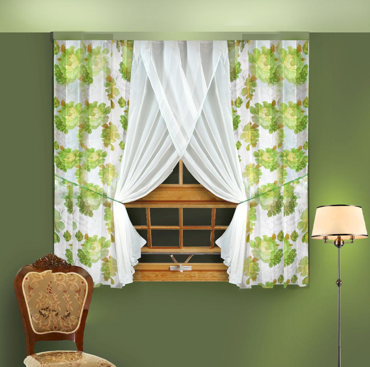 Комплект штор для кухни Zlata Korunka, на ленте, цвет: зеленый, высота 180 см. 5566559768_ЛЕНТАКомплект штор для кухни Zlata Korunka, выполненный из полиэстера, великолепно украсит любое окно. Комплект состоит из 2 штор и 2 подхватов. Крупный цветочный рисунок и приятная цветовая гамма привлекут к себе внимание и органично впишутся в интерьер помещения. Этот комплект будет долгое время радовать вас и вашу семью!Комплект крепится на карниз при помощи ленты, которая поможет красиво и равномерно задрапировать верх.В комплект входит: Штора: 2 шт. Размер (Ш х В): 180 х 180 см.Подхват: 2 шт.
