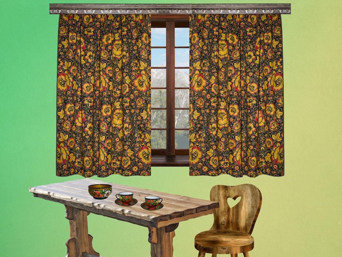 Комплект штор для кухни Zlata Korunka Хохлома, на ленте, высота 150 см. 55668CLP446Комплект штор для кухни Zlata Korunka Хохлома, выполненный из полиэстера, великолепно украсит любое окно. Комплект состоит из 2 штор и 2 подхватов. Рисунок под роспись хохлома и приятная цветовая гамма привлекут к себе внимание и органично впишутся в интерьер помещения. Этот комплект будет долгое время радовать вас и вашу семью!Комплект крепится на карниз при помощи ленты, которая поможет красиво и равномерно задрапировать верх. В комплект входит: Штора: 2 шт. Размер (Ш х В): 150 х 150 см.Подхват: 2 шт.
