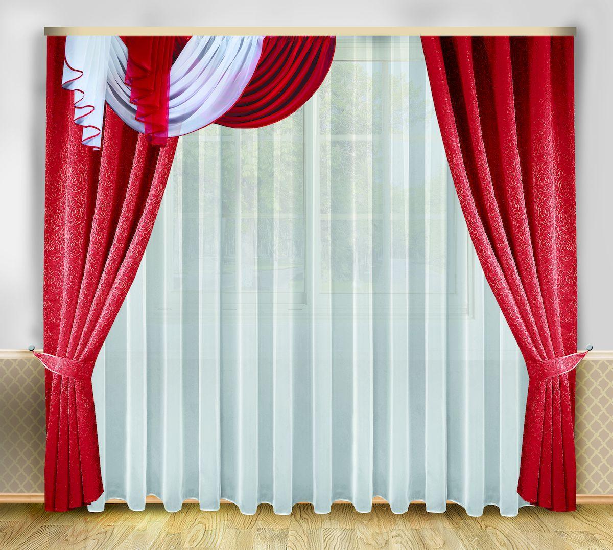 Комплект штор Zlata Korunka, на ленте, цвет: бордовый, белый, высота 250 см. 66626KGB GX-3Роскошный комплект штор Zlata Korunka, выполненный из полиэстера, великолепно украсит любое окно. Комплект состоит из тюля, ламбрекена, двух штор и двух подхватов. Изящный узор и приятная цветовая гамма привлекут к себе внимание и органично впишутся в интерьер помещения. Этот комплект будет долгое время радовать вас и вашу семью!Комплект крепится на карниз при помощи ленты, которая поможет красиво и равномерно задрапировать верх.В комплект входит: Тюль: 1 шт. Размер (Ш х В): 400 см х 250 см. Ламбрекен: 1 шт. Размер (Ш х В): 200 см х 40 см. Штора: 2 шт. Размер (Ш х В): 138 см х 250 см.Подхват: 2 шт.
