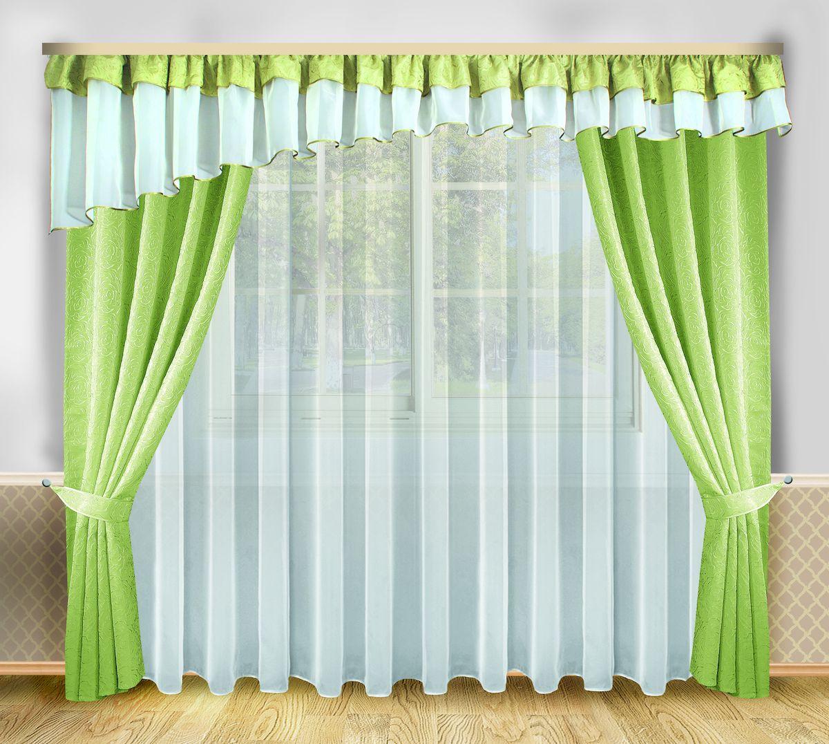 Комплект штор Zlata Korunka, на ленте, цвет: зеленый, белый, высота 250 см. 6665439111333115Роскошный комплект штор Zlata Korunka, выполненный из полиэстера, великолепно украсит любое окно. Комплект состоит из тюля, ламбрекена, двух штор и двух подхватов. Изящный узор и приятная цветовая гамма привлекут к себе внимание и органично впишутся в интерьер помещения. Этот комплект будет долгое время радовать вас и вашу семью!Комплект крепится на карниз при помощи ленты, которая поможет красиво и равномерно задрапировать верх.В комплект входит: Тюль: 1 шт. Размер (Ш х В): 400 см х 250 см. Ламбрекен: 1 шт. Размер (Ш х В): 560 см х 70 см. Штора: 2 шт. Размер (Ш х В): 138 см х 250 см.Подхват: 2 шт.