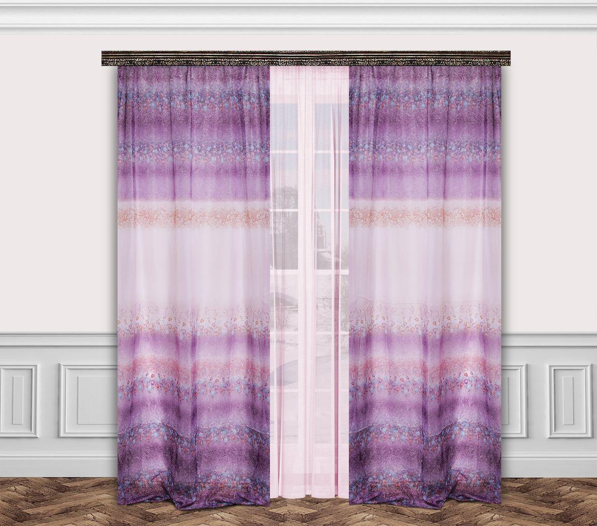 Комплект штор Zlata Korunka, на ленте, цвет: сиреневый, высота 260 см. 7770023111916620Роскошный комплект штор Zlata Korunka, выполненный из полиэстера, великолепно украсит любое окно. Комплект состоит из тюля, двух штор и двух подхватов. Нежный цветочный рисунок и приятная цветовая гамма привлекут к себе внимание и органично впишутся в интерьер помещения. Этот комплект будет долгое время радовать вас и вашу семью!Комплект крепится на карниз при помощи ленты, которая поможет красиво и равномерно задрапировать верх.В комплект входит: Тюль: 1 шт. Размер (Ш х В): 350 см х 260 см. Штора: 2 шт. Размер (Ш х В): 160 см х 260 см.Подхват: 2 шт.