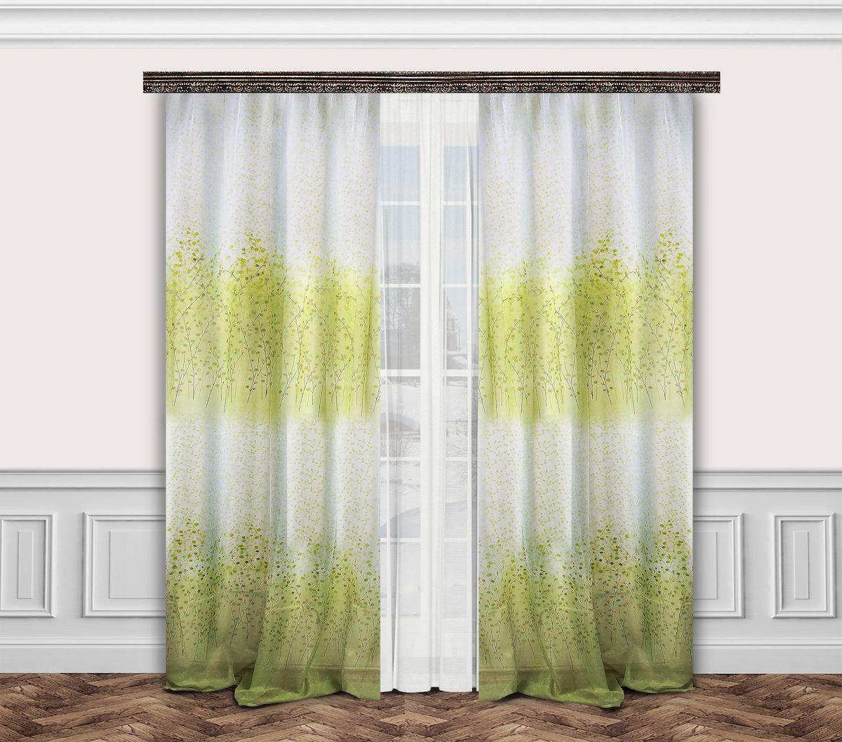 Комплект штор Zlata Korunka, на ленте, цвет: белый, салатовый, высота 260 см. 7770033111909668Комплект штор Zlata Korunka, выполненный из полиэстера, великолепно украсит любое окно. Комплект состоит из тюля, двух штор и двух подхватов. Оригинальный рисунок и приятная цветовая гамма привлекут к себе внимание и органично впишутся в интерьер помещения. Этот комплект будет долгое время радовать вас и вашу семью!Комплект крепится на карниз при помощи ленты, которая поможет красиво и равномерно задрапировать верх.В комплект входит: Тюль: 1 шт. Размер (Ш х В): 350 см х 260 см. Штора: 2 шт. Размер (Ш х В): 160 см х 260 см.Подхват: 2 шт.