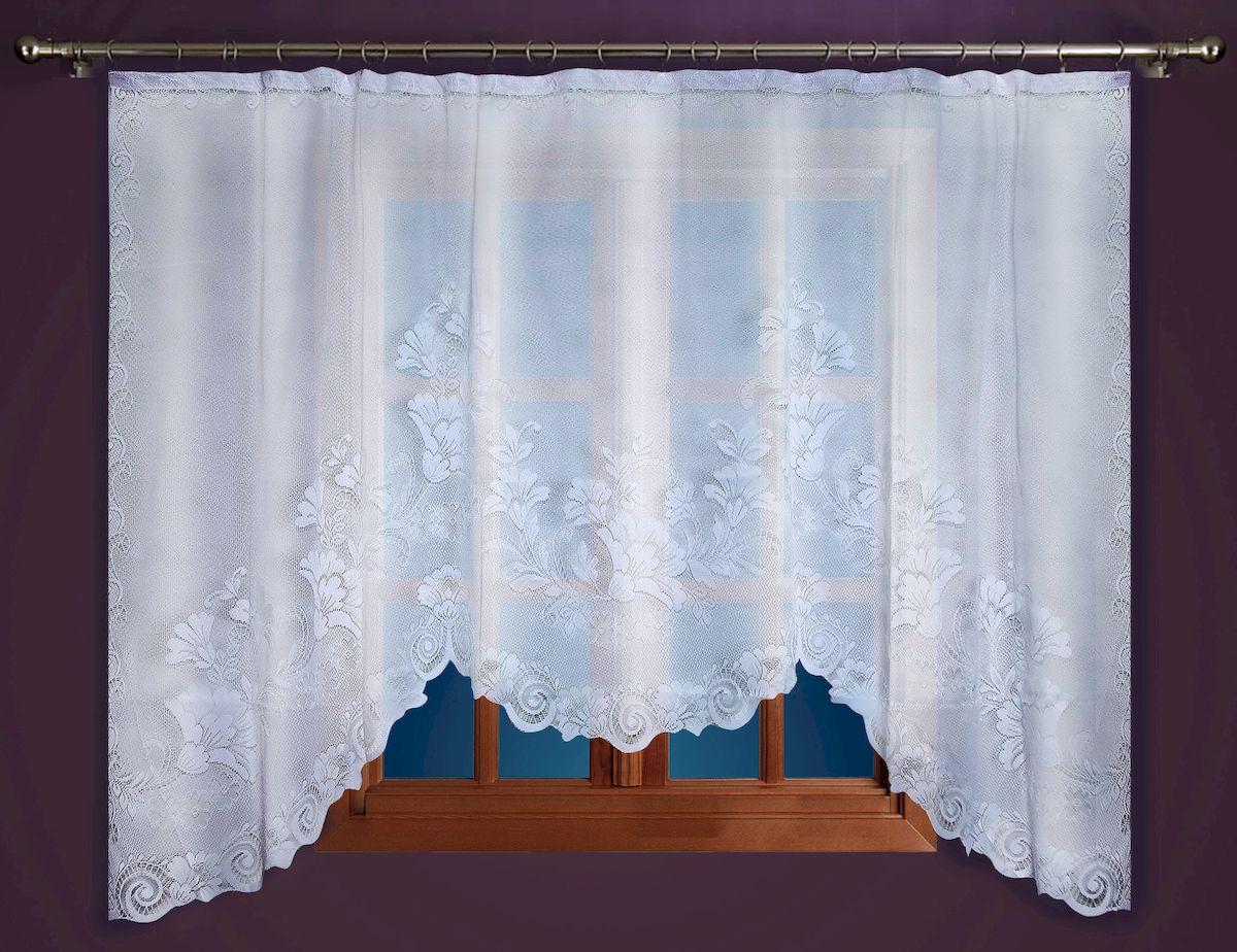 Гардина Zlata Korunka, на зажимах, цвет: белый, высота 250 см. 88864956251325Гардина-арка Zlata Korunka, изготовленная из высококачественного полиэстера, станет великолепным украшением любого окна. Изящный цветочный узор и тюле-кружевная текстура полотна привлекут к себе внимание и органично впишутся в интерьер комнаты. Оригинальное оформление гардины внесет разнообразие и подарит заряд положительного настроения.Крепится на зажимах для штор.