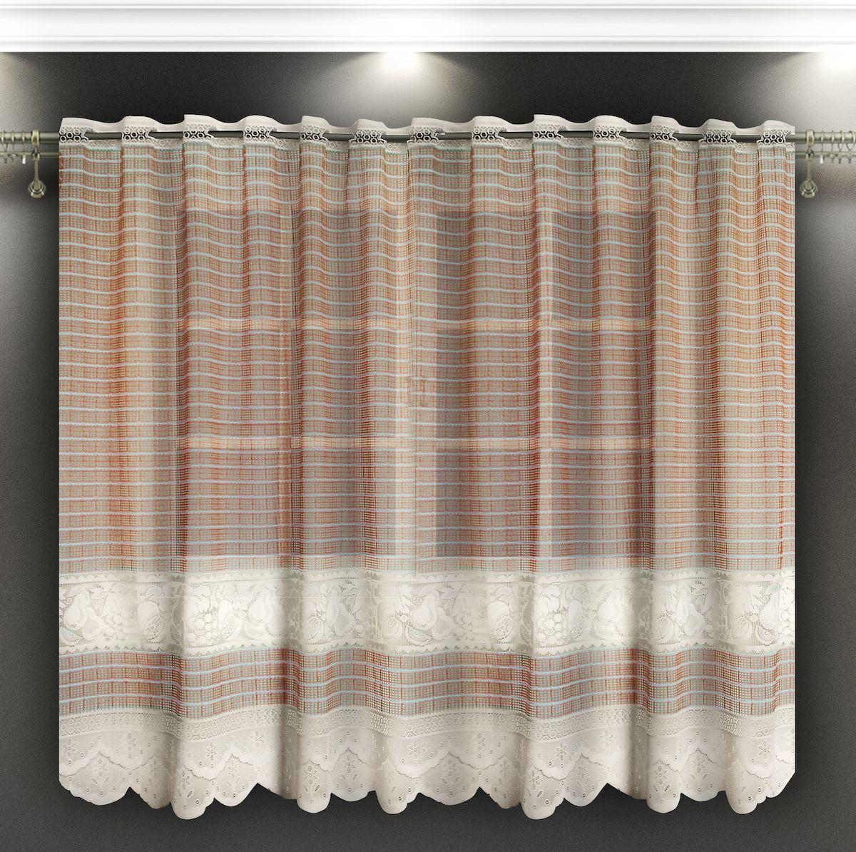 Гардина Zlata Korunka, на зажимах, цвет: бежевый, высота 160 см. 8886940.13.64.0246Гардина Zlata Korunka, изготовленная из высококачественного полиэстера, станет великолепным украшением любого окна. Тюле-кружевная текстура полотна привлечет к себе внимание и органично впишется в интерьер. Оригинальное оформление гардины внесет разнообразие и подарит заряд положительного настроения.Крепится на зажимах для штор.