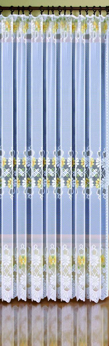 Гардина-тюль Wisan Ewelina, на ленте, цвет: белый, желтый, высота 250 см. 9378956251325Жаккардовая гардина-тюль Wisan, выполненная из легкого полиэстера, станет великолепным украшением окна в спальне или гостиной. Изделие дополнено красивыми яркими цветочными узорами по всей поверхности полотна. Качественный материал, тонкое плетение и оригинальный дизайн привлекут к себе внимание и позволят гардине органично вписаться в интерьер помещения. Гардина оснащена шторной лентой для крепления на карниз. Отлично подходит по размеру под балконный блок.