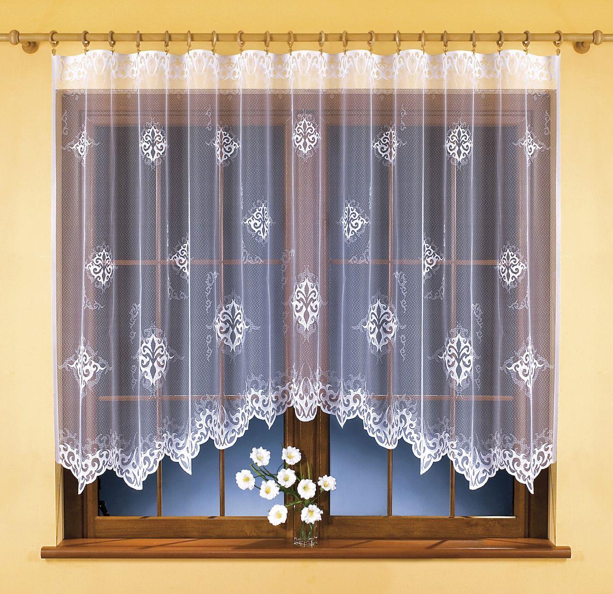 Гардина Wisan, цвет: белый, высота 150 см. 9853956251325Воздушная гардина-арка Wisan, изготовленная из 100% полиэстера, станет великолепным украшением любого окна. Изящный цветочный узор и текстура ткани привлекут к себе внимание и органично впишутся в интерьер комнаты. Оригинальное оформление гардины внесет разнообразие и подарит заряд положительного настроения.Крепится при помощи шторной ленты.