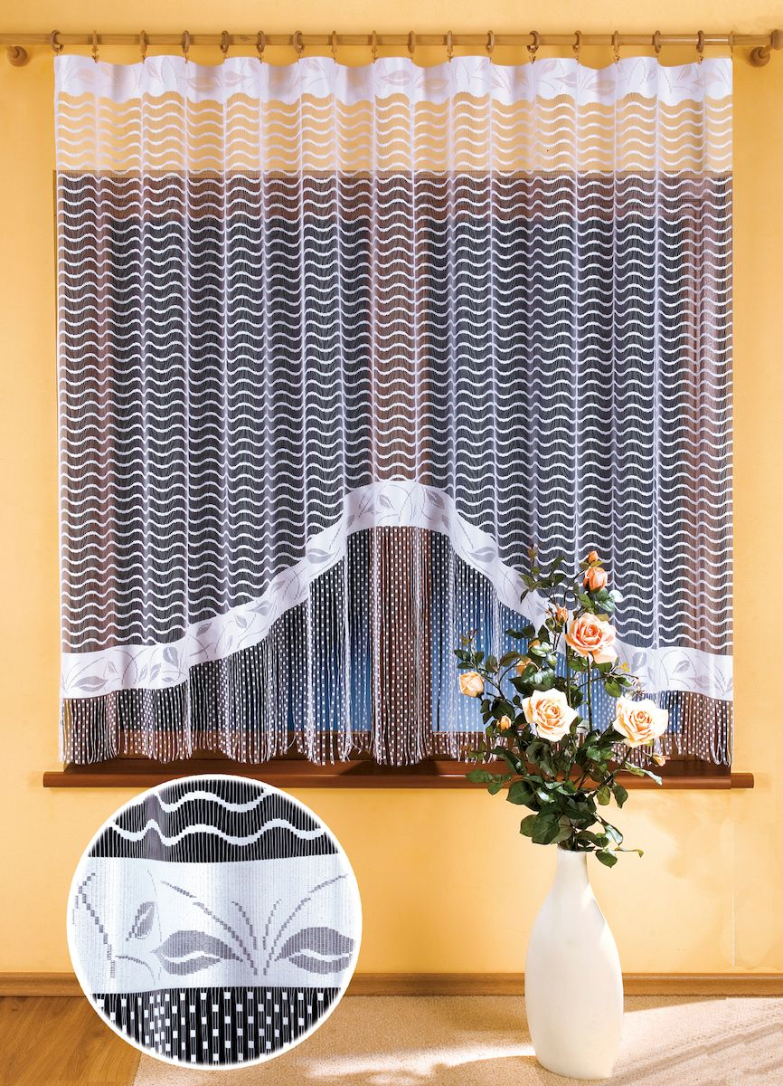 Гардина Wisan Gracjana, цвет: белый, высота 180 см. 990639111333115Жаккардовая гардина-арка с цветным рисунком. Крепится на зажимы для шторРазмер: ширина 300 x высота 180