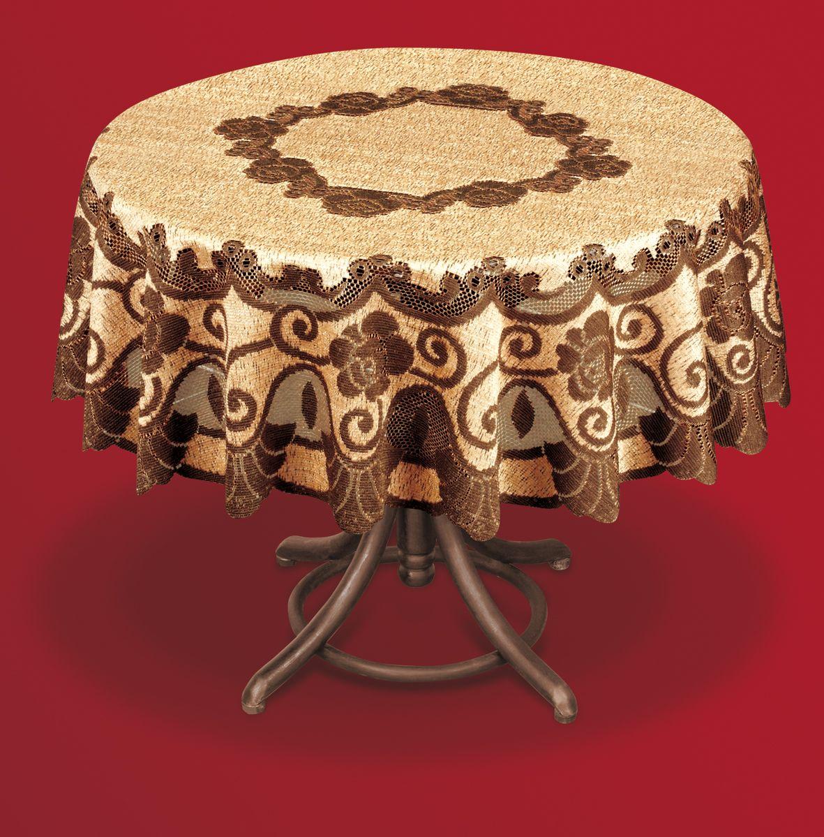 Скатерть Haft, круглая, цвет: коричневый, бежевый, диаметр 200 см. 201553VT-1520(SR)Великолепная скатерть Haft, выполненная из полиэстера, органично впишется в интерьер любого помещения, а оригинальный дизайн удовлетворит даже самый изысканный вкус.Скатерть Haft создаст праздничное настроение и станет прекрасным дополнением интерьера гостиной, кухни или столовой.