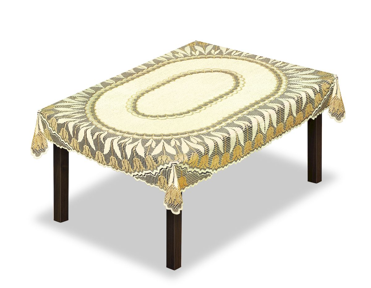 Скатерть Haft, прямоугольная, цвет: кремовый, золотистый, 140 x 220 см. 22863902716-СК-ГБ-003Великолепная скатерть Haft, выполненная из полиэстера, органично впишется в интерьер любого помещения, а оригинальный дизайн удовлетворит даже самый изысканный вкус.Скатерть Haft создаст праздничное настроение и станет прекрасным дополнением интерьера гостиной, кухни или столовой.
